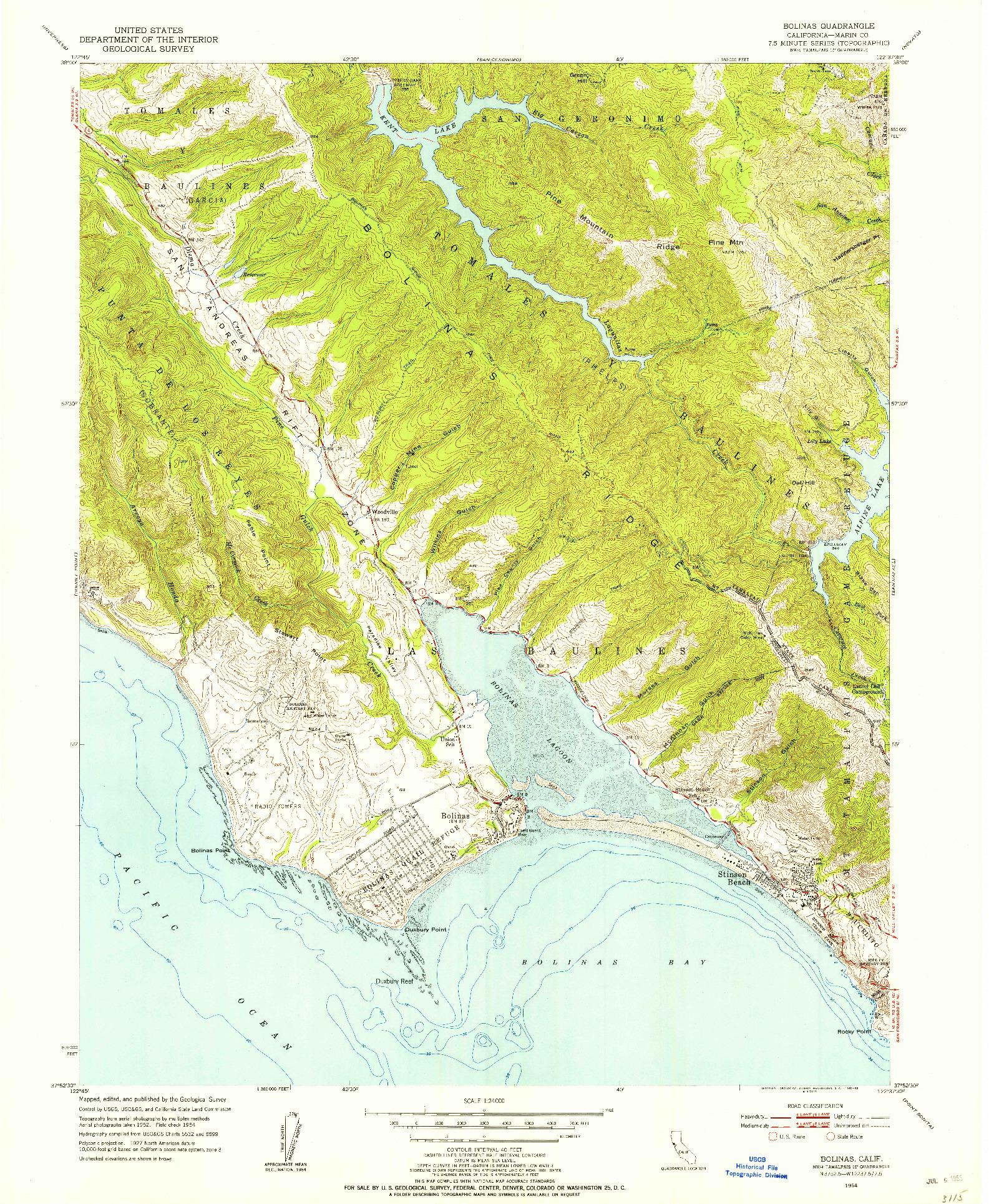 USGS 1:24000-SCALE QUADRANGLE FOR BOLINAS, CA 1954