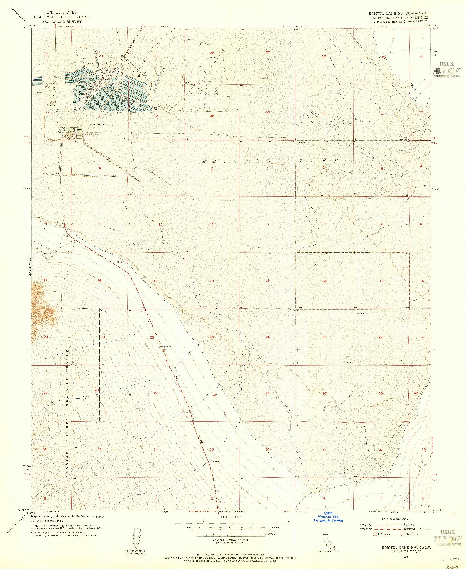 USGS 1:24000-SCALE QUADRANGLE FOR BRISTOL LAKE NW, CA 1954