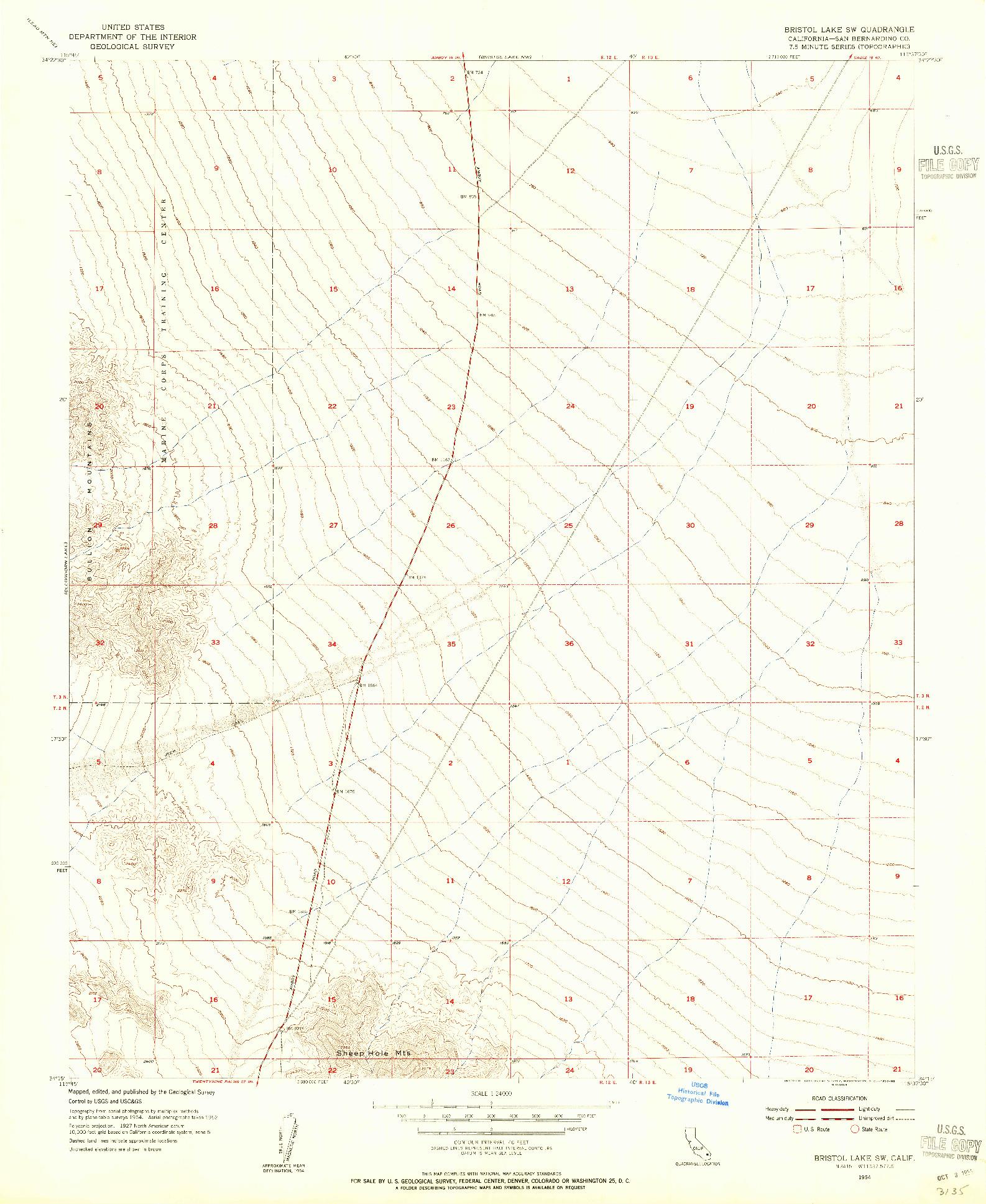 USGS 1:24000-SCALE QUADRANGLE FOR BRISTOL LAKE SW, CA 1954