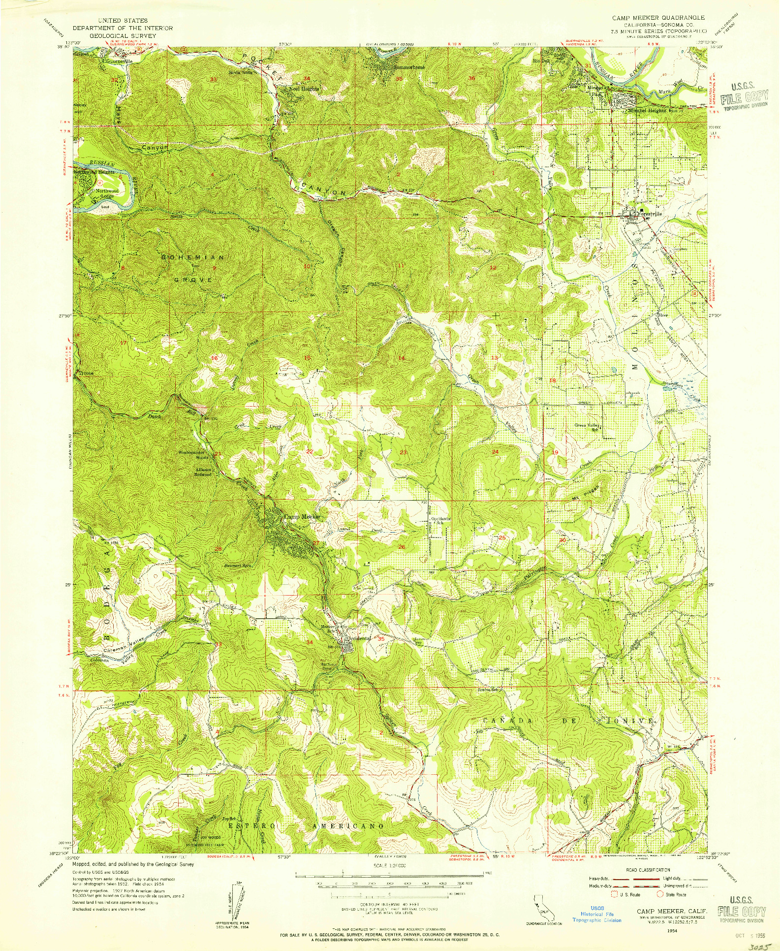 USGS 1:24000-SCALE QUADRANGLE FOR CAMP MEEKER, CA 1954