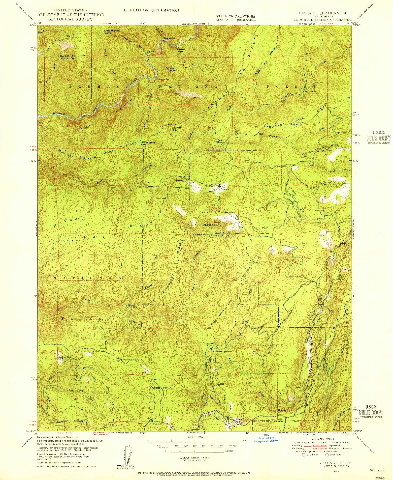 USGS 1:24000-SCALE QUADRANGLE FOR CASCADE, CA 1948