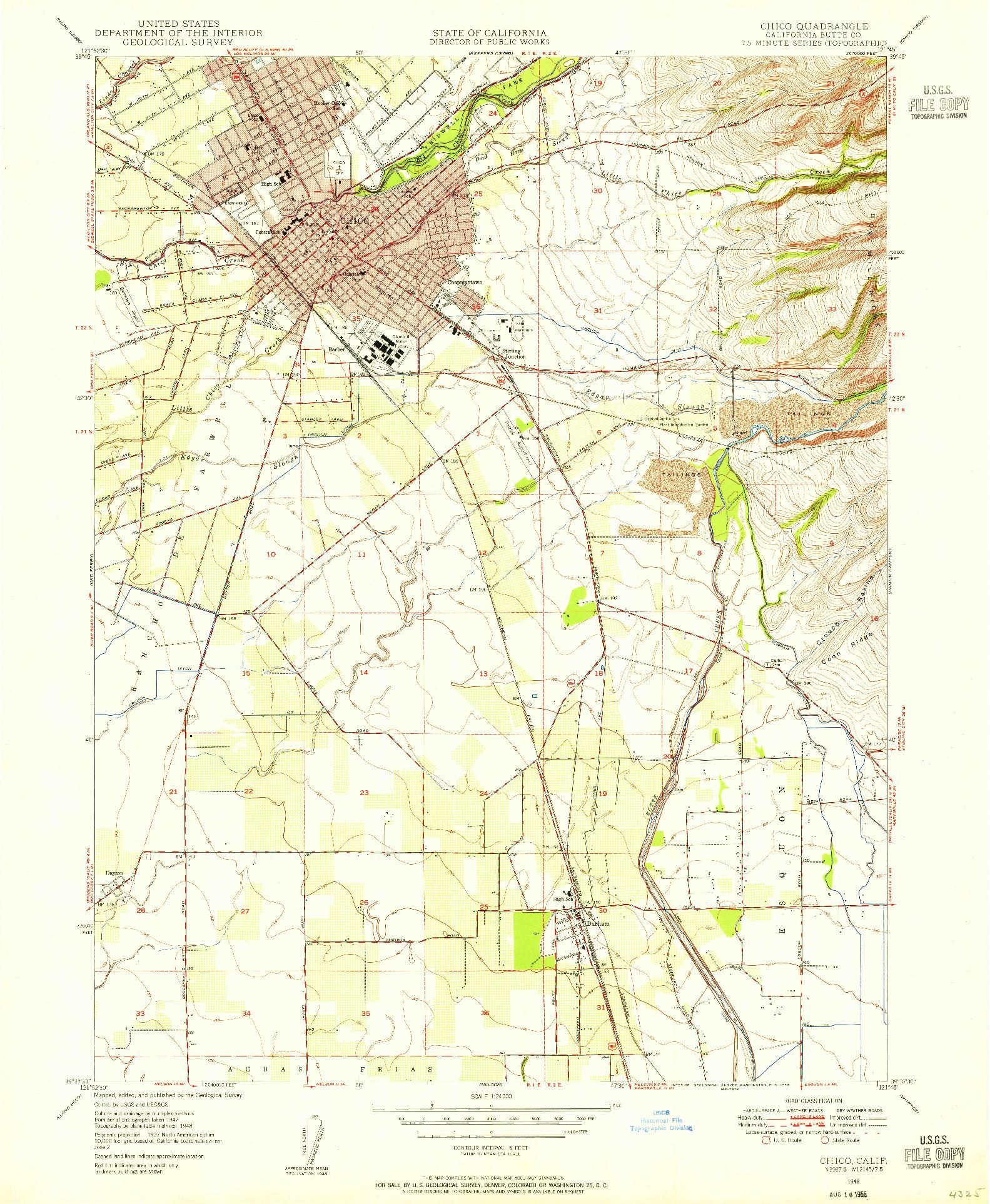USGS 1:24000-SCALE QUADRANGLE FOR CHICO, CA 1948