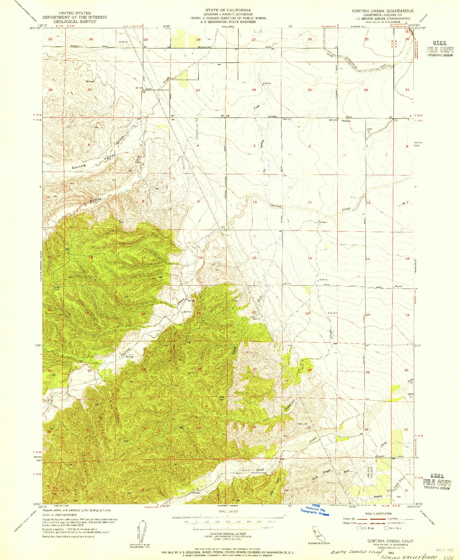 USGS 1:24000-SCALE QUADRANGLE FOR CORTINA CREEK, CA 1953