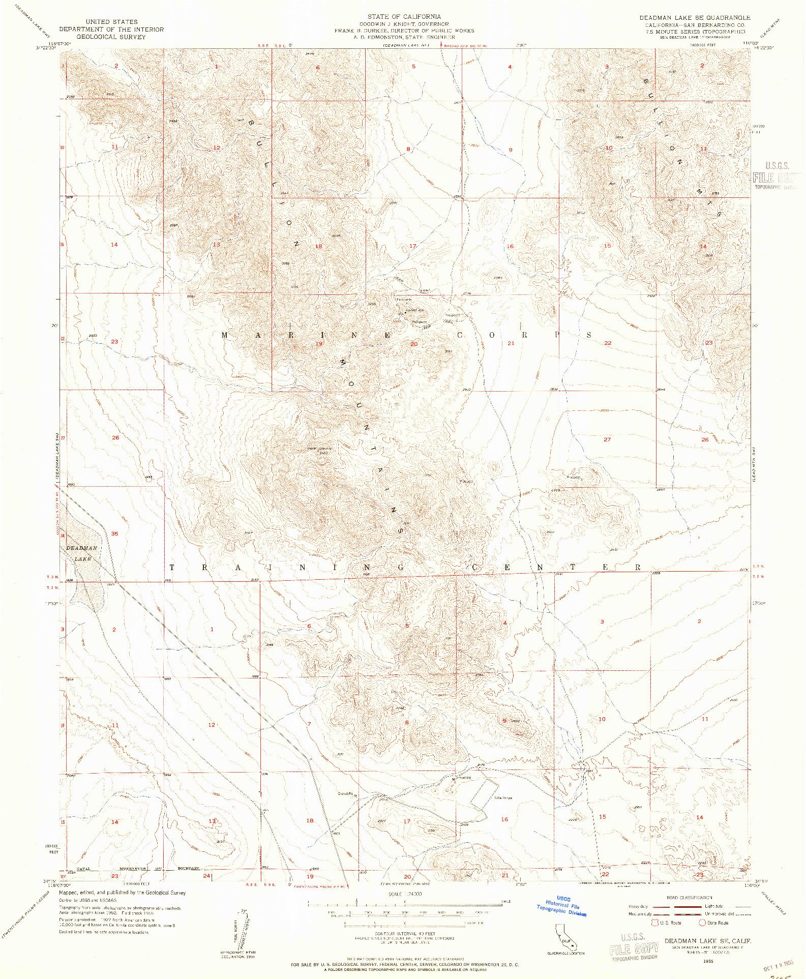 USGS 1:24000-SCALE QUADRANGLE FOR DEADMAN LAKE SE, CA 1955