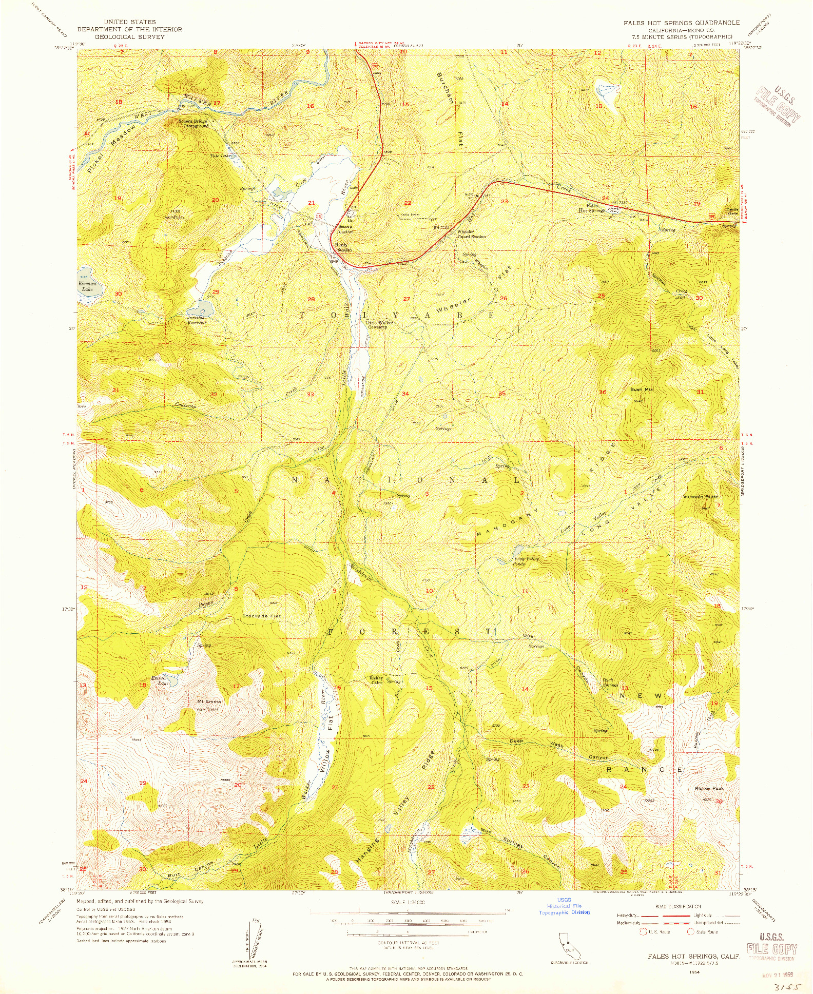 USGS 1:24000-SCALE QUADRANGLE FOR FALES HOT SPRINGS, CA 1954