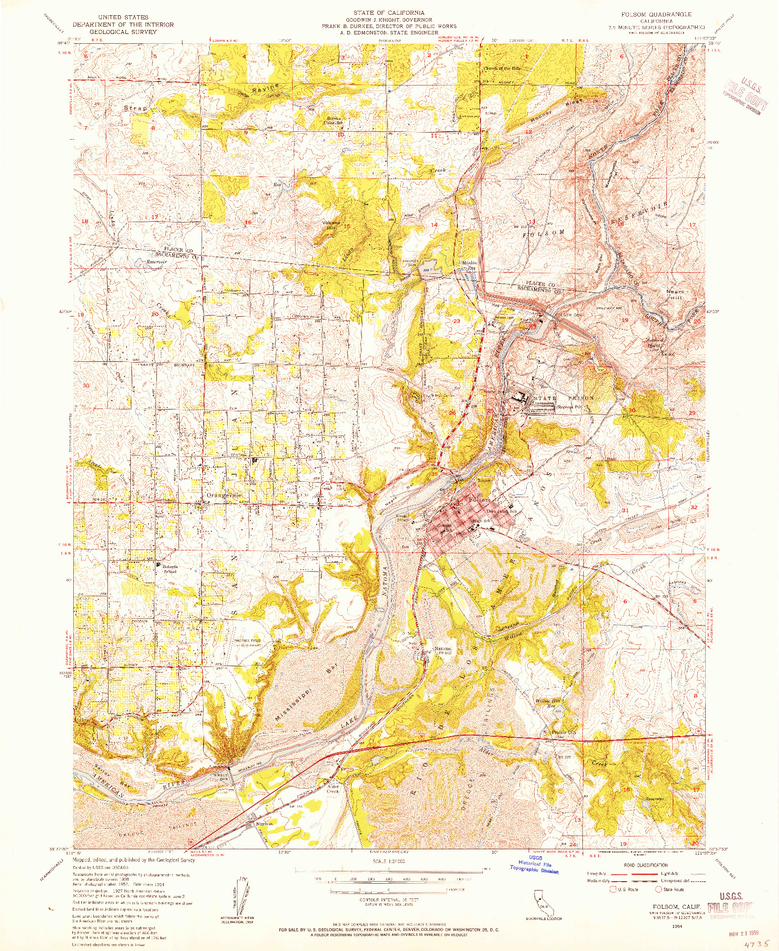 USGS 1:24000-SCALE QUADRANGLE FOR FOLSOM, CA 1954