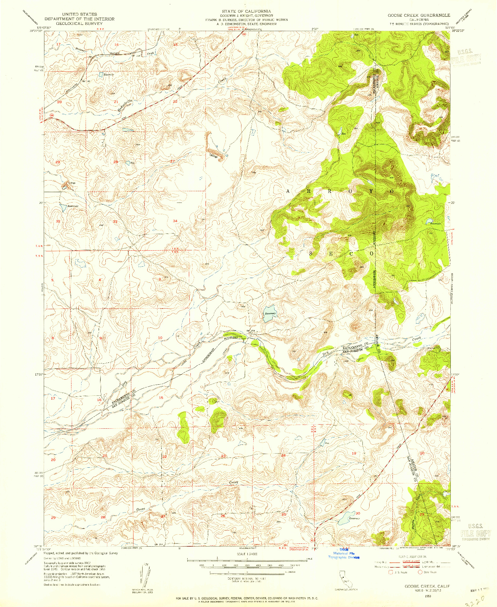 USGS 1:24000-SCALE QUADRANGLE FOR GOOSE CREEK, CA 1953