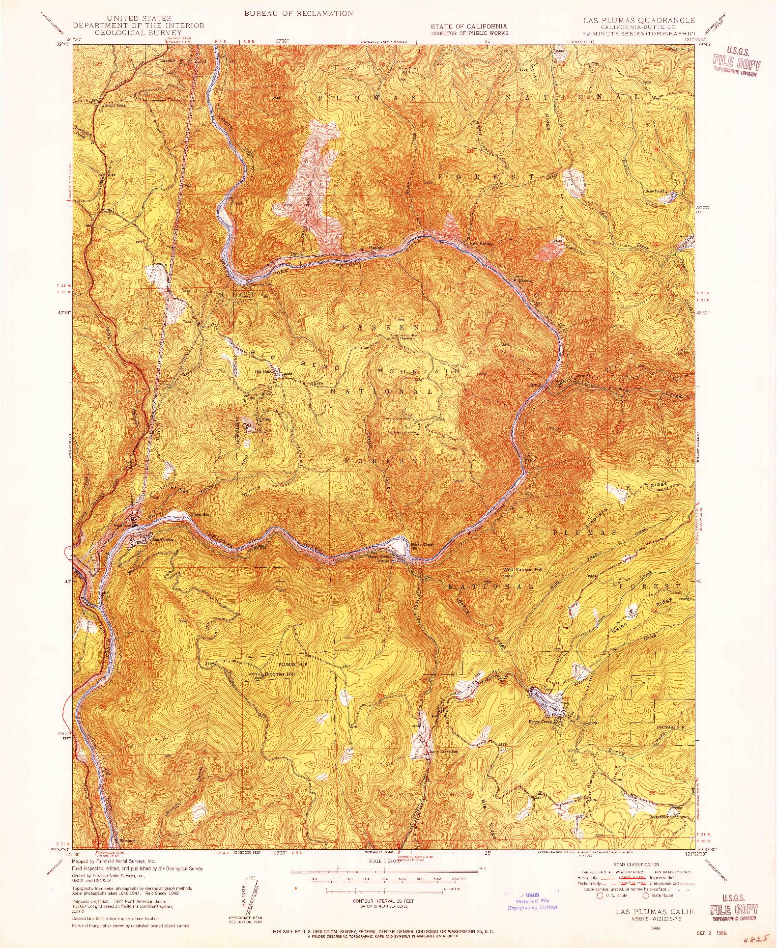 USGS 1:24000-SCALE QUADRANGLE FOR LAS PLUMAS, CA 1948
