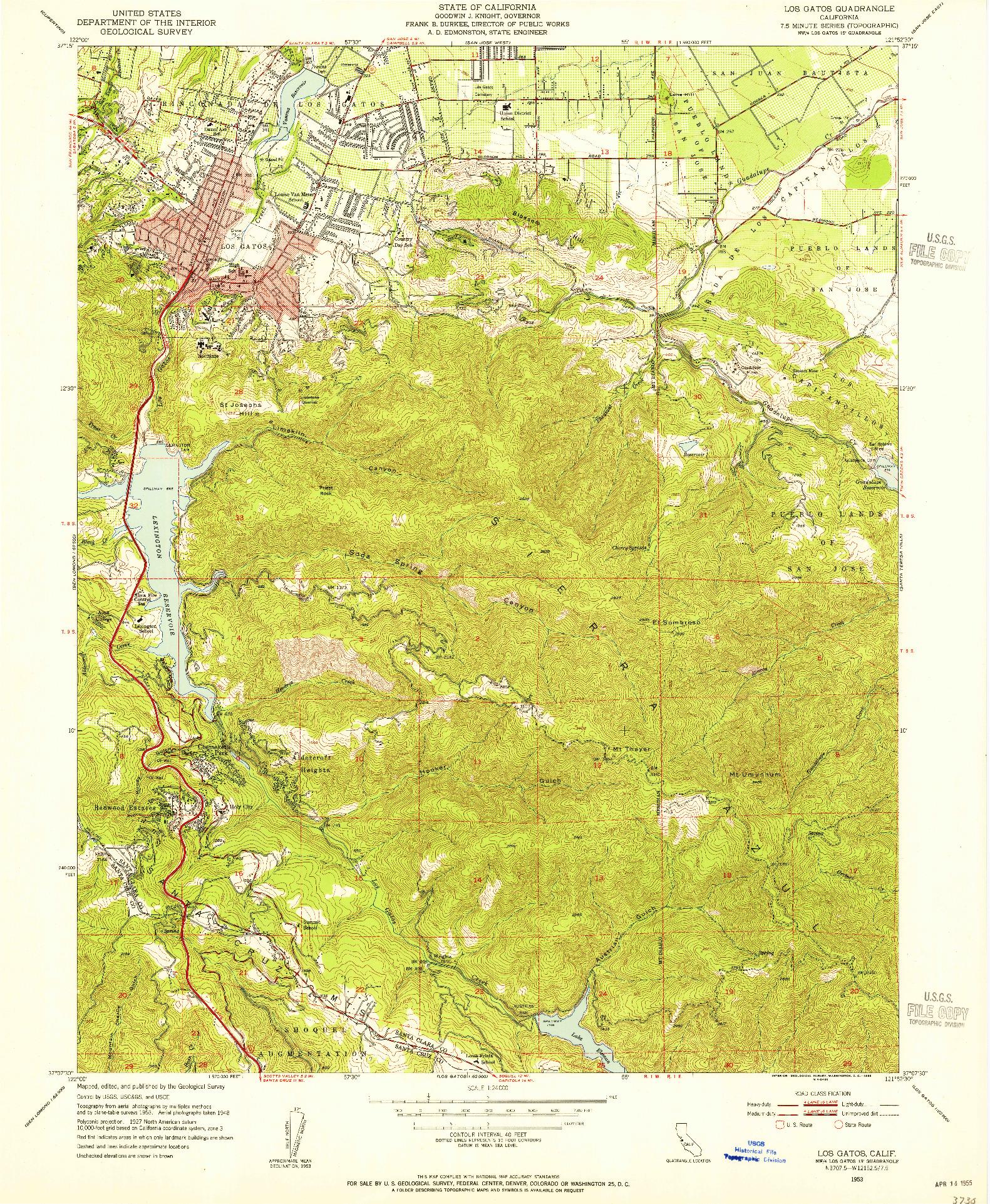 USGS 1:24000-SCALE QUADRANGLE FOR LOS GATOS, CA 1953
