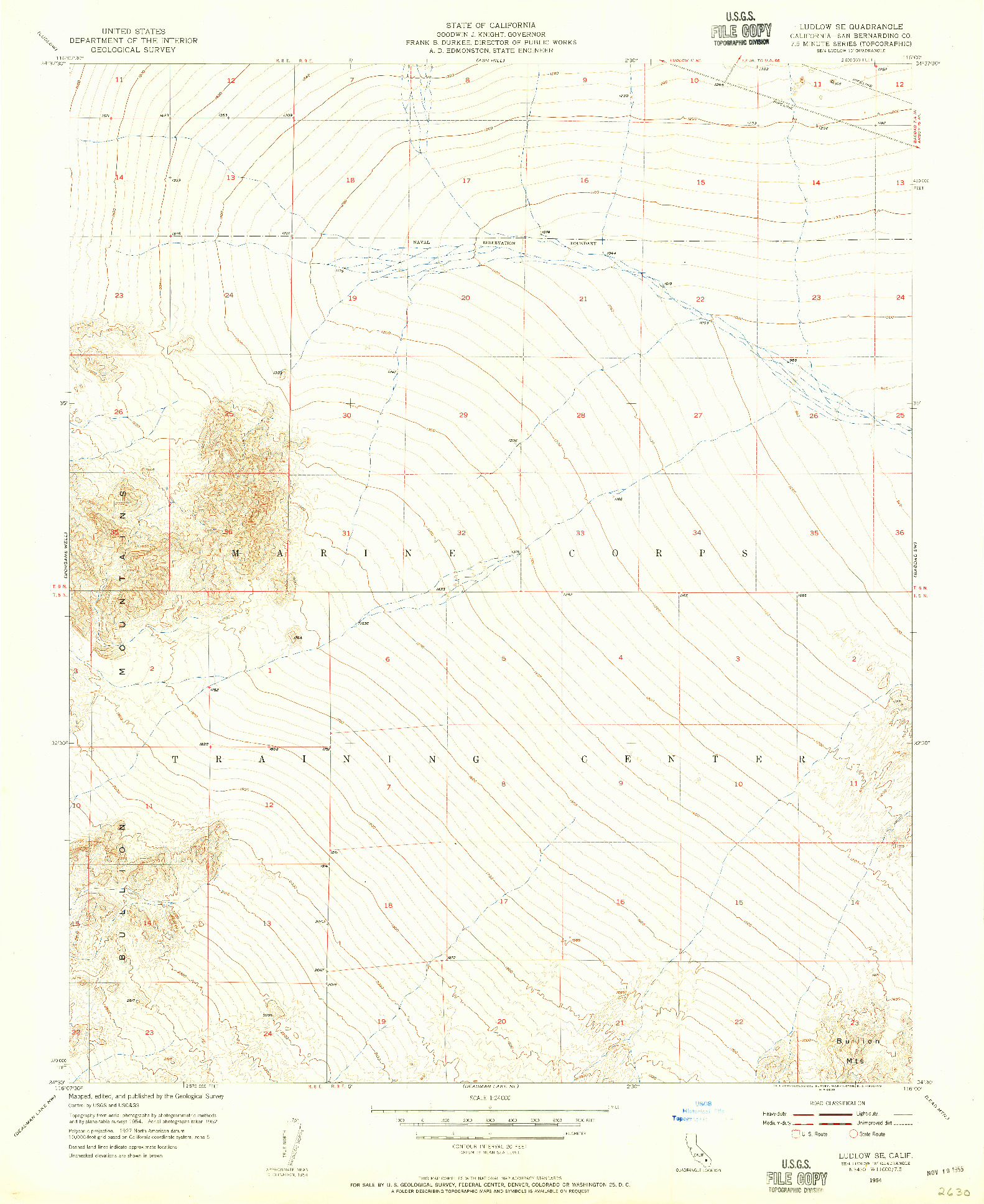 USGS 1:24000-SCALE QUADRANGLE FOR LUDLOW SE, CA 1954