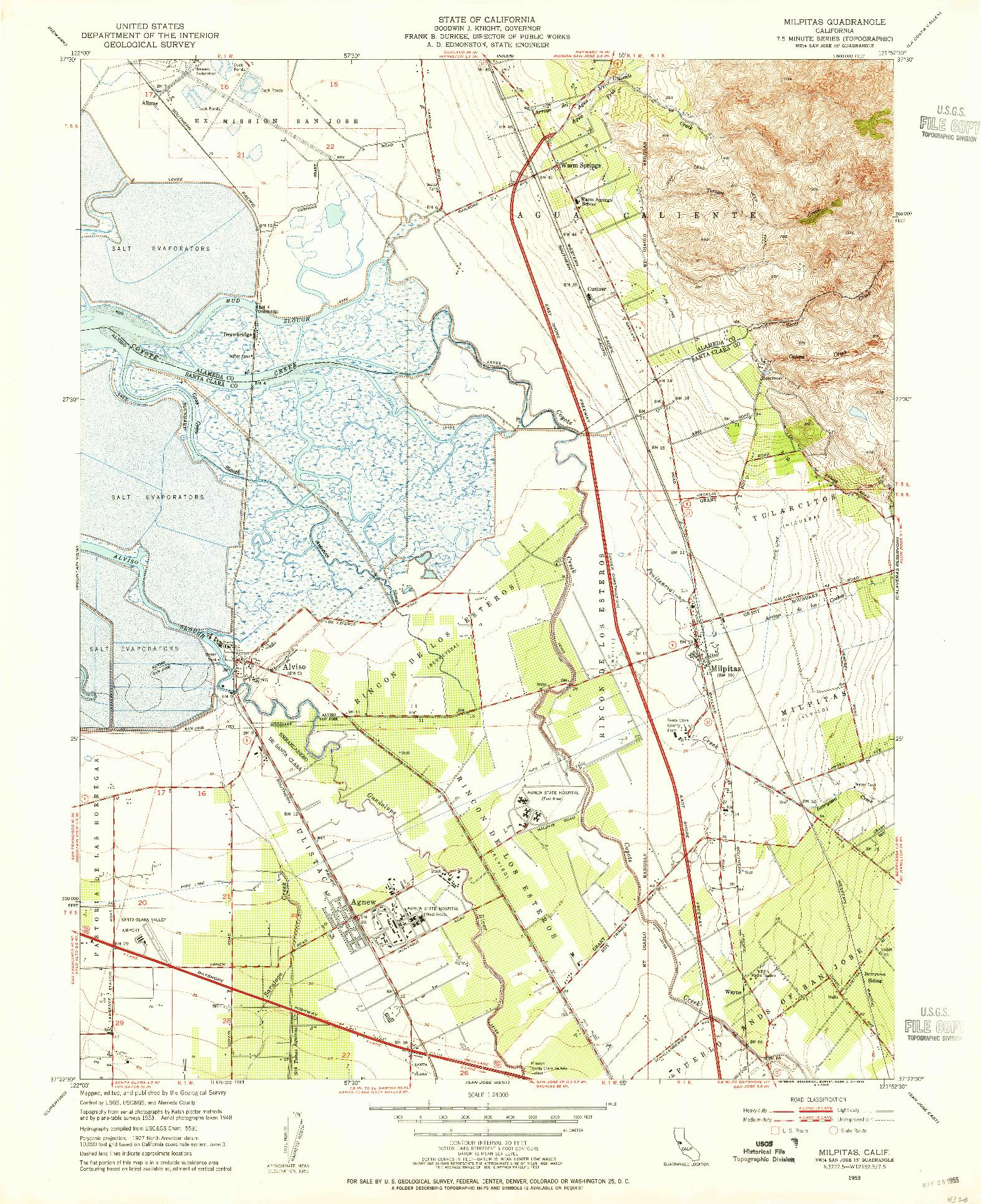USGS 1:24000-SCALE QUADRANGLE FOR MILPITAS, CA 1953