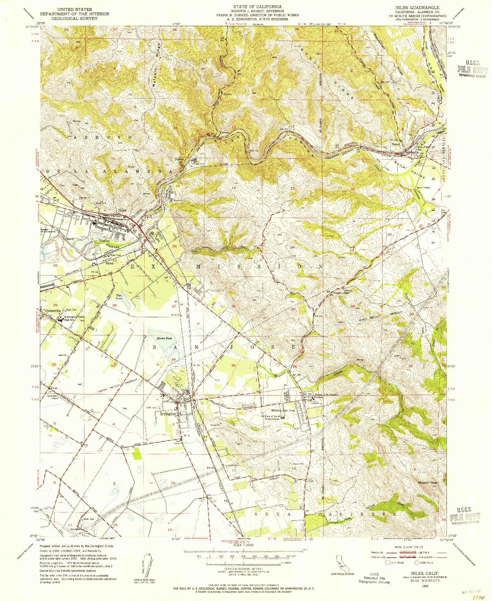 USGS 1:24000-SCALE QUADRANGLE FOR NILES, CA 1953