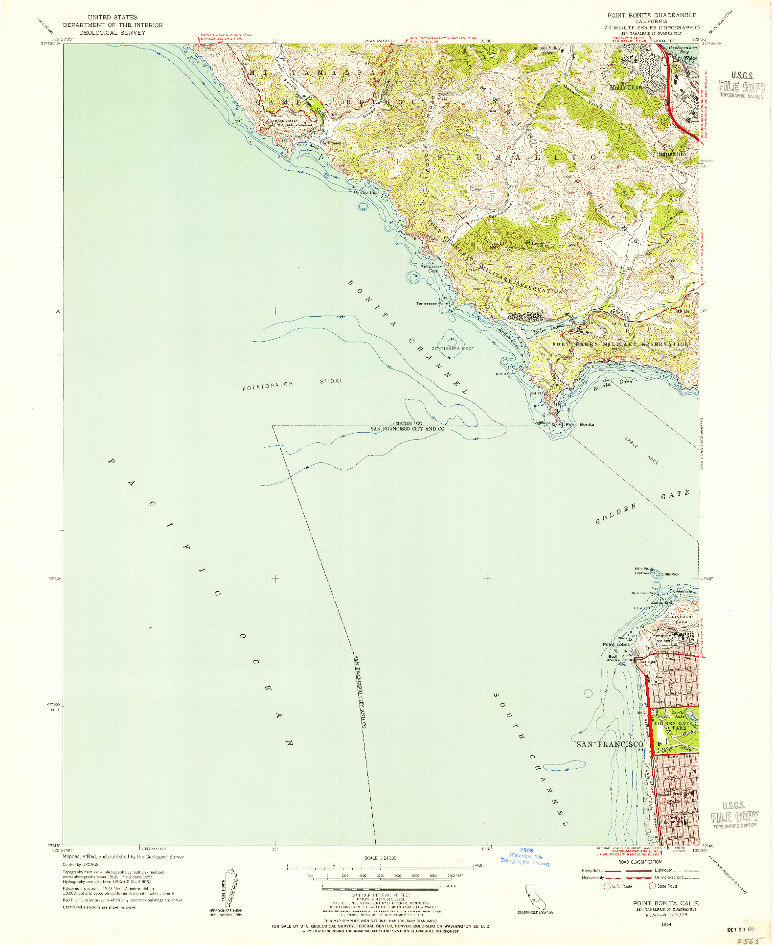 USGS 1:24000-SCALE QUADRANGLE FOR POINT BONITA, CA 1954