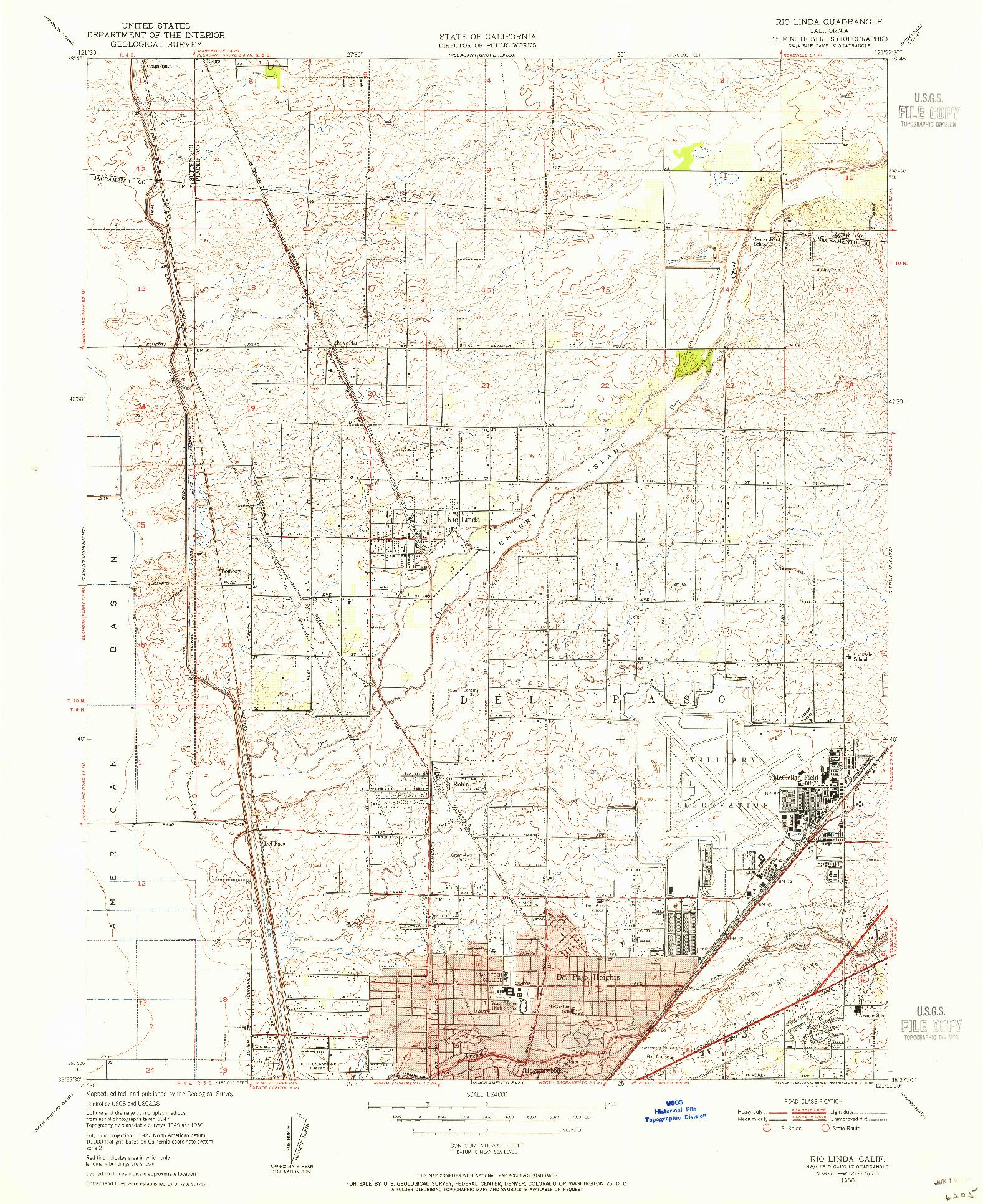 USGS 1:24000-SCALE QUADRANGLE FOR RIO LINDA, CA 1950