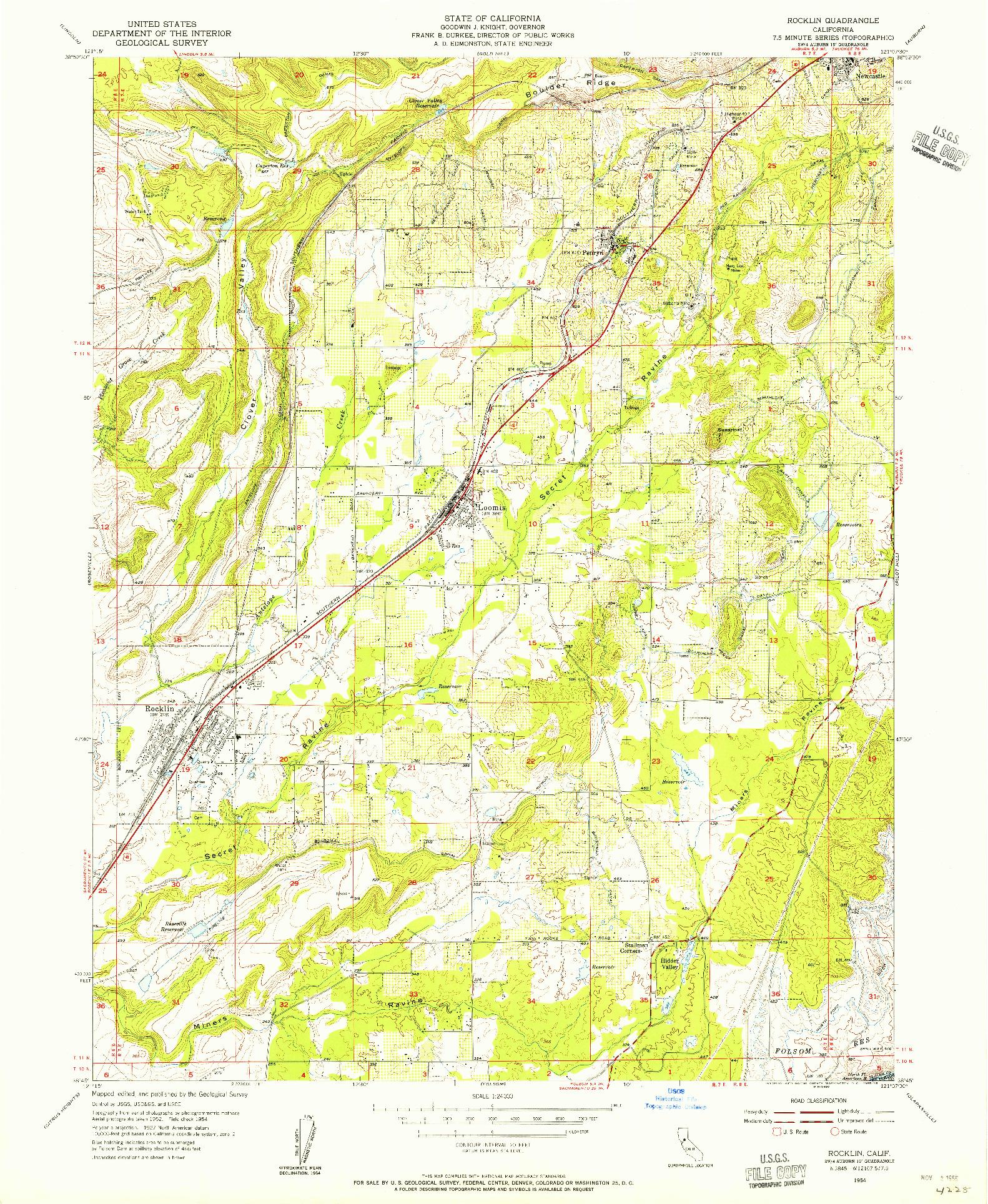 USGS 1:24000-SCALE QUADRANGLE FOR ROCKLIN, CA 1954