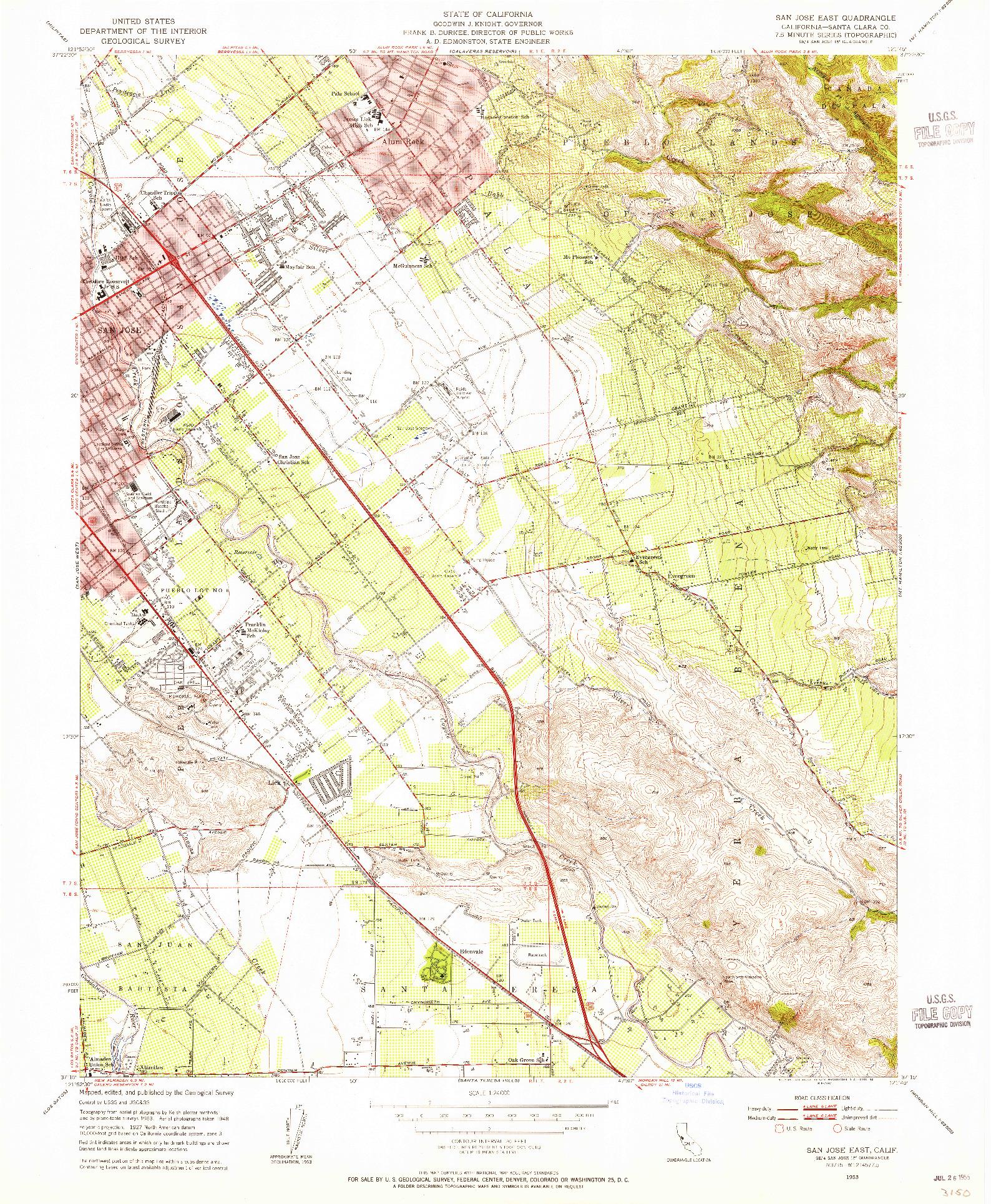 USGS 1:24000-SCALE QUADRANGLE FOR SAN JOSE EAST, CA 1953