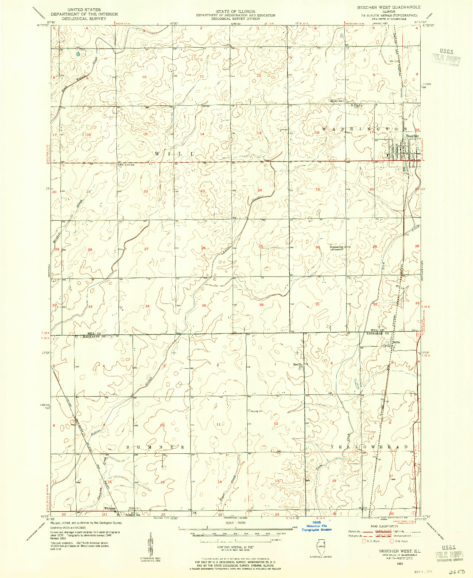 USGS 1:24000-SCALE QUADRANGLE FOR BEECHER WEST, IL 1953