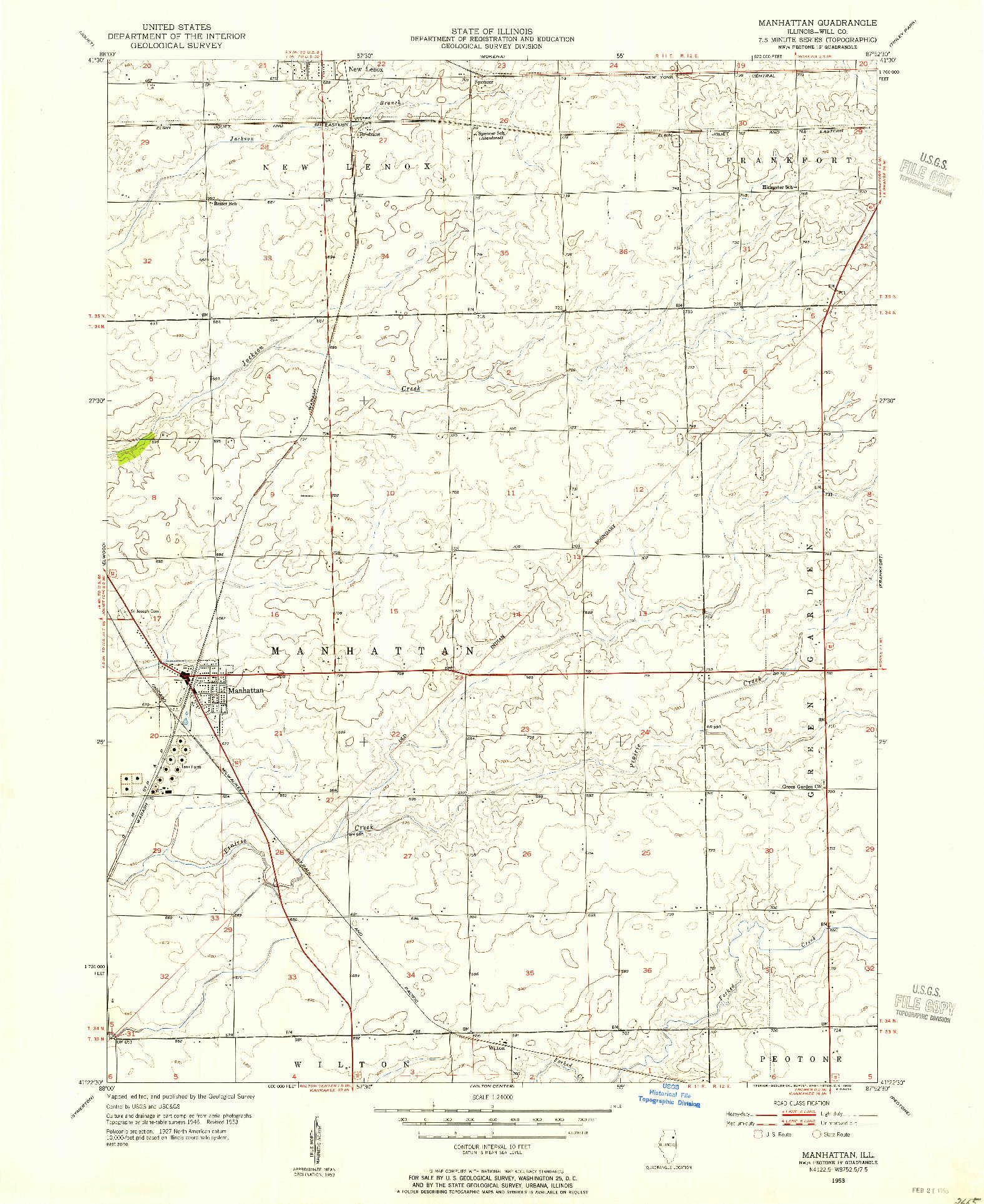 USGS 1:24000-SCALE QUADRANGLE FOR MANHATTAN, IL 1953