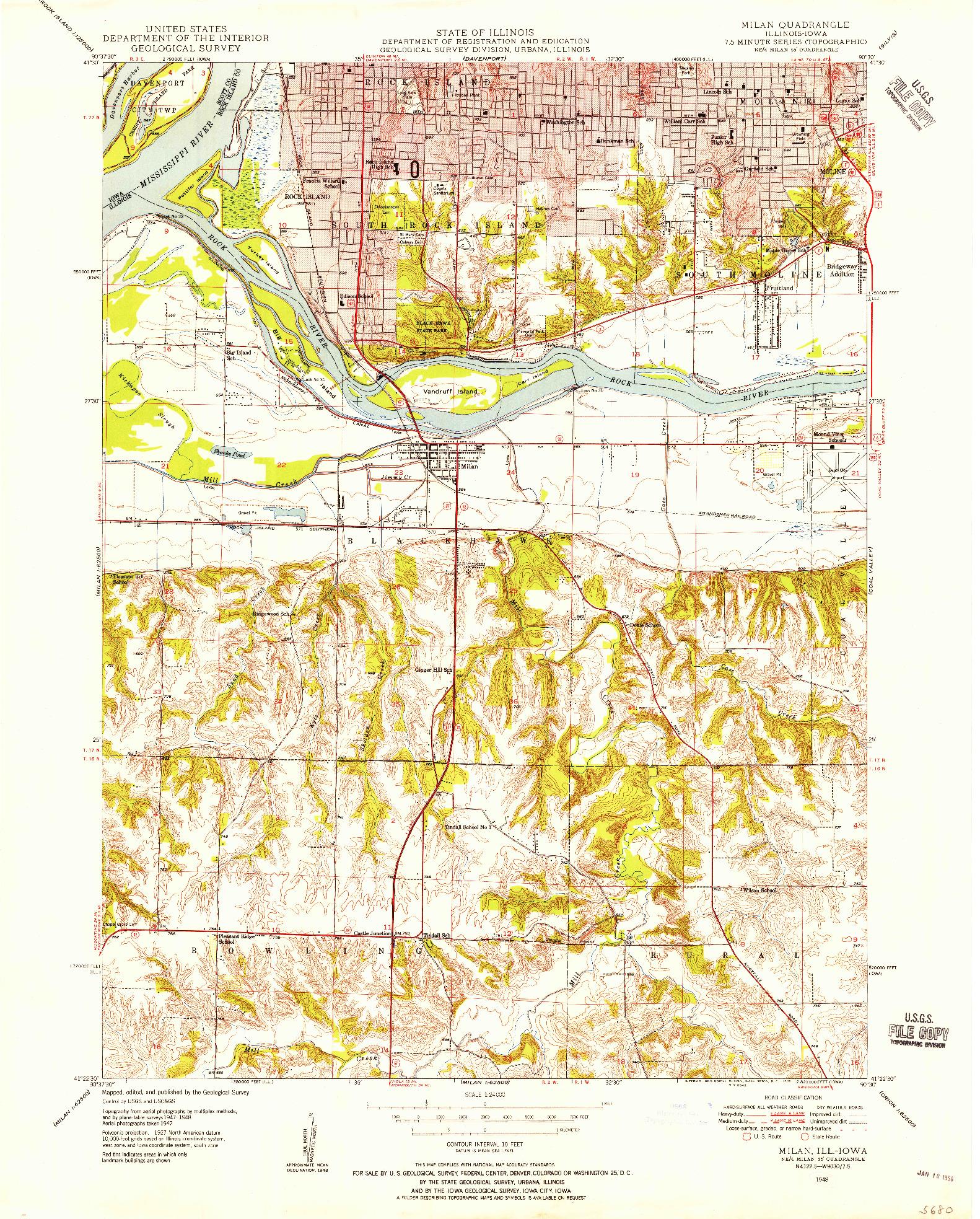USGS 1:24000-SCALE QUADRANGLE FOR MILAN, IL 1948