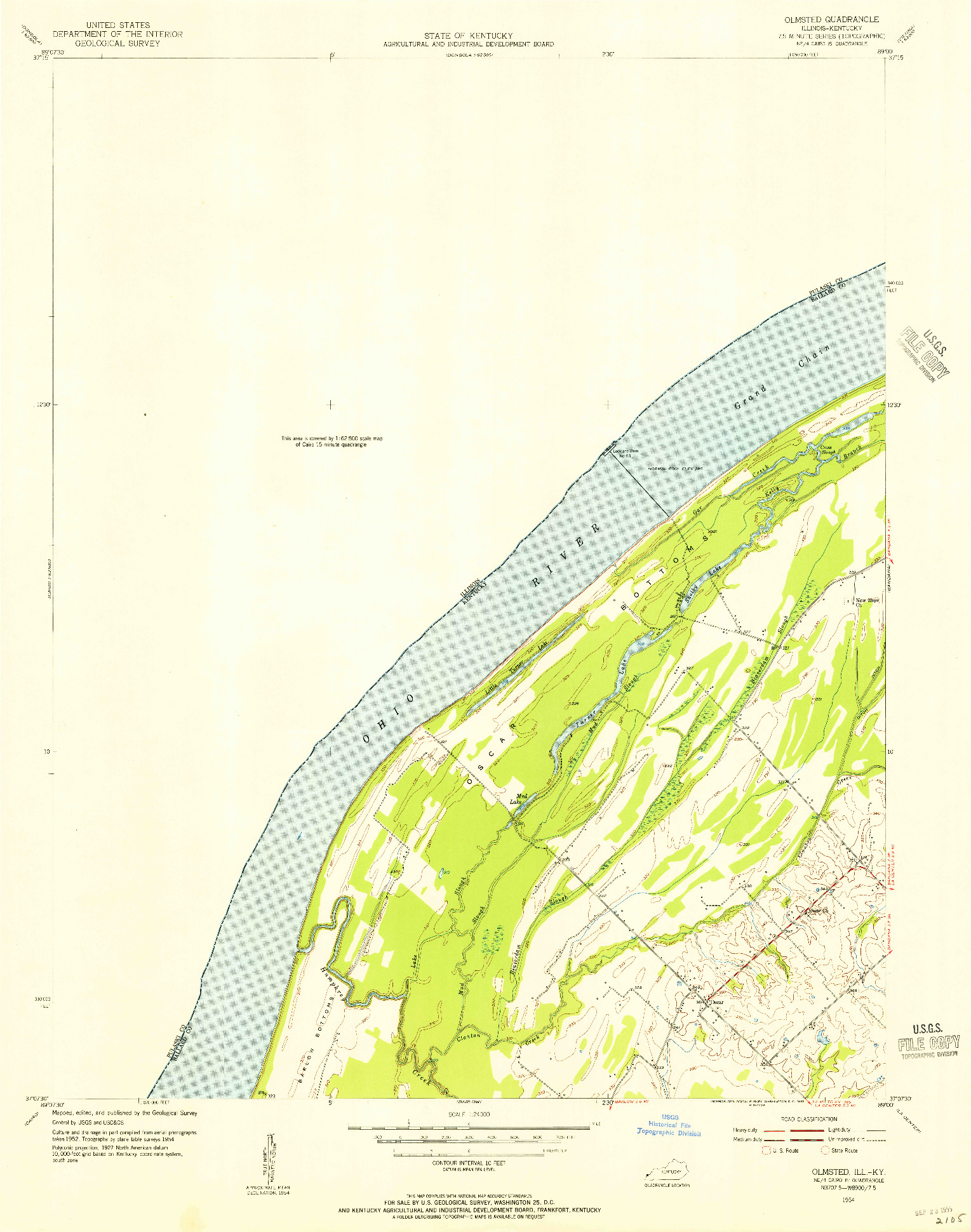 USGS 1:24000-SCALE QUADRANGLE FOR OLMSTED, IL 1954
