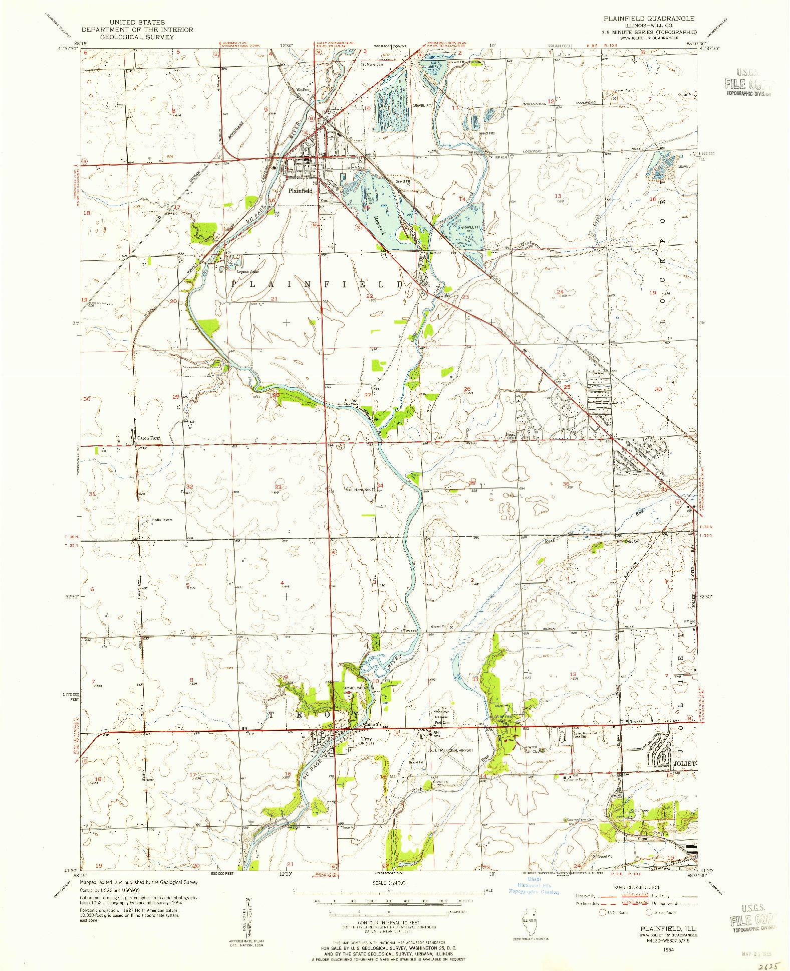 USGS 1:24000-SCALE QUADRANGLE FOR PLAINFIELD, IL 1954