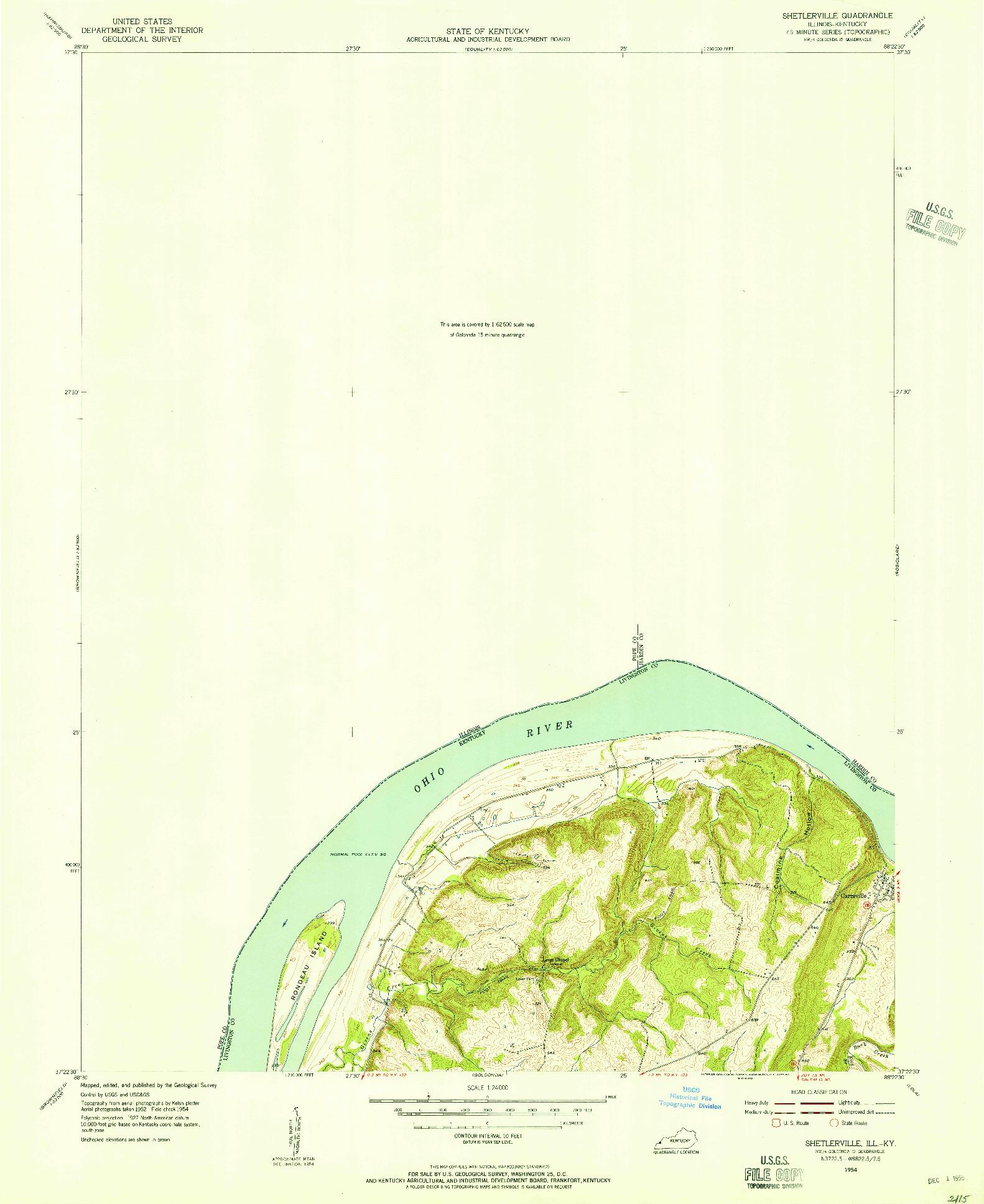 USGS 1:24000-SCALE QUADRANGLE FOR SHETLERVILLE, IL 1954