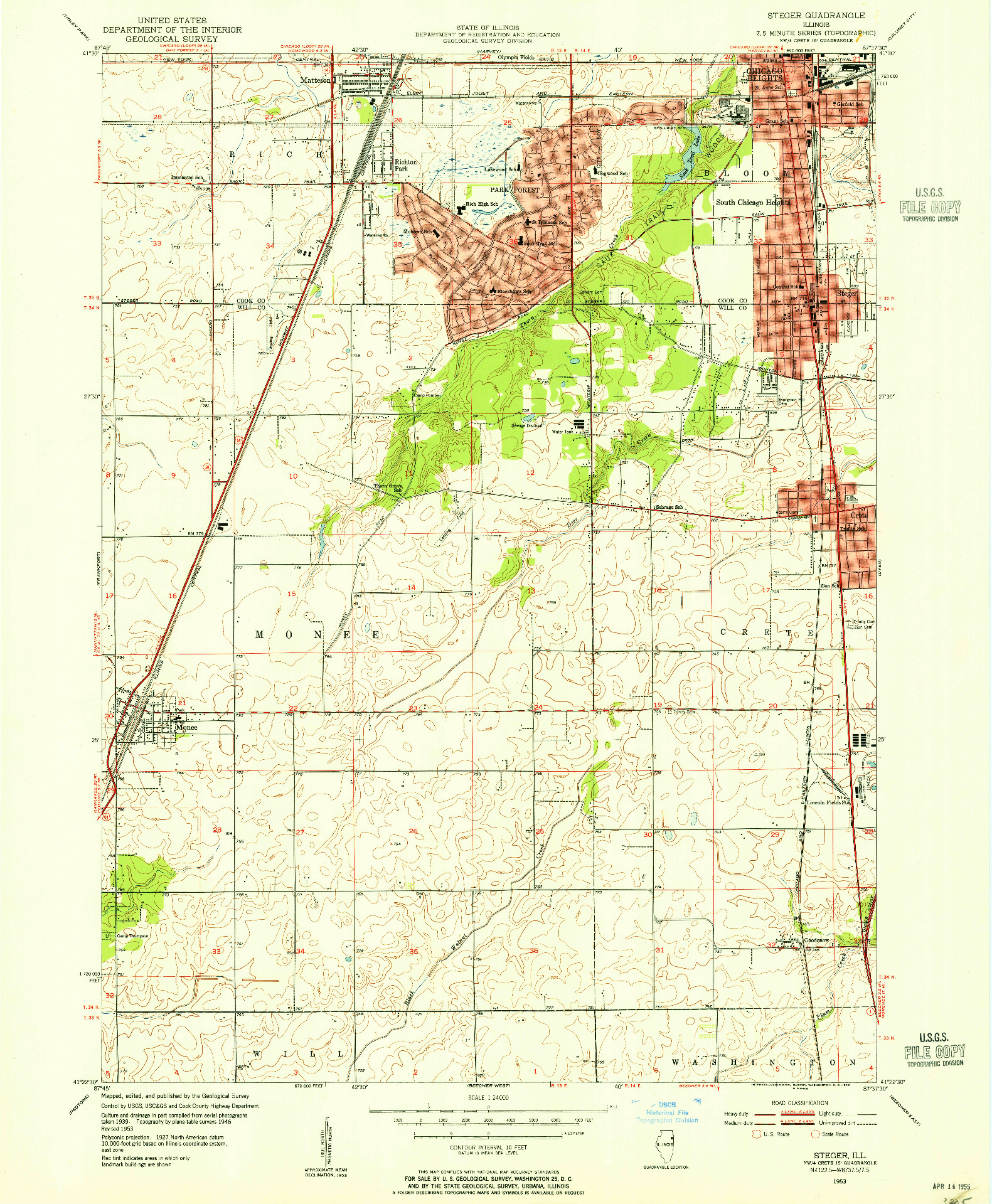 USGS 1:24000-SCALE QUADRANGLE FOR STEGER, IL 1953