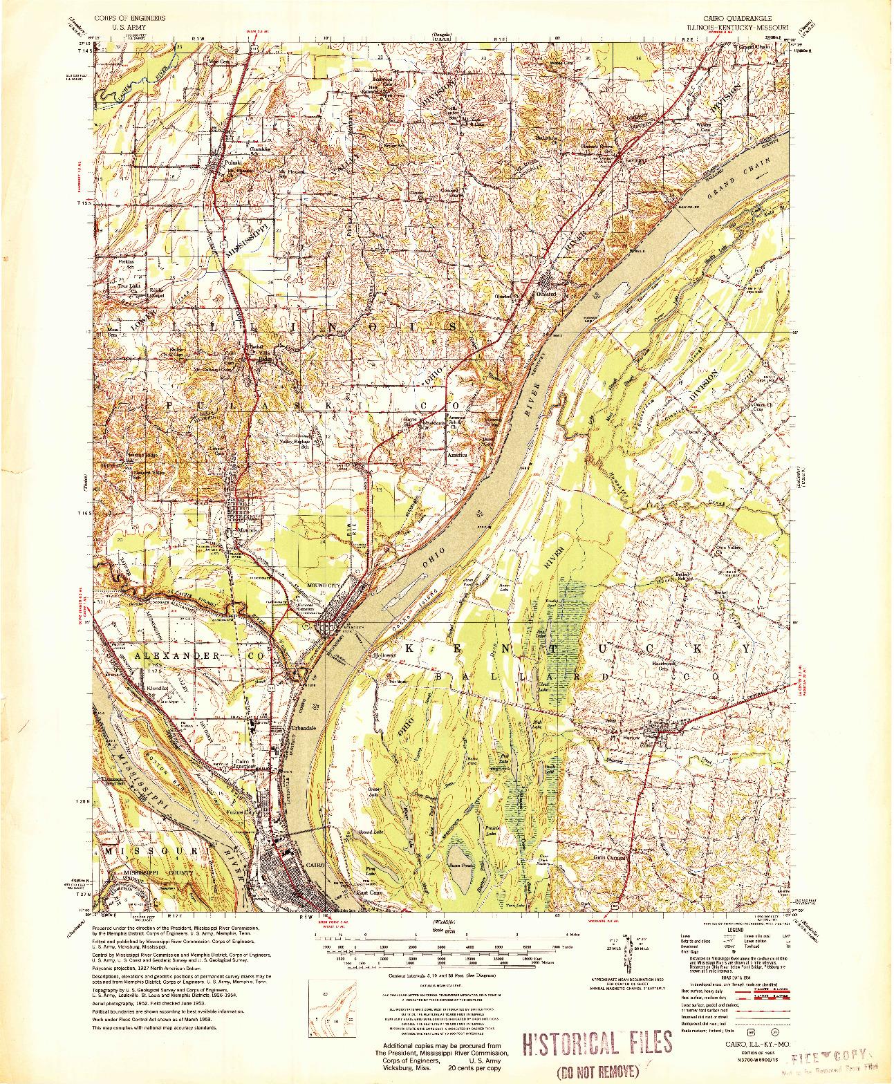 USGS 1:62500-SCALE QUADRANGLE FOR CAIRO, IL 1955