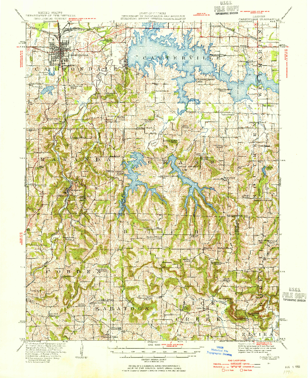 USGS 1:62500-SCALE QUADRANGLE FOR CARBONDALE, IL 1941