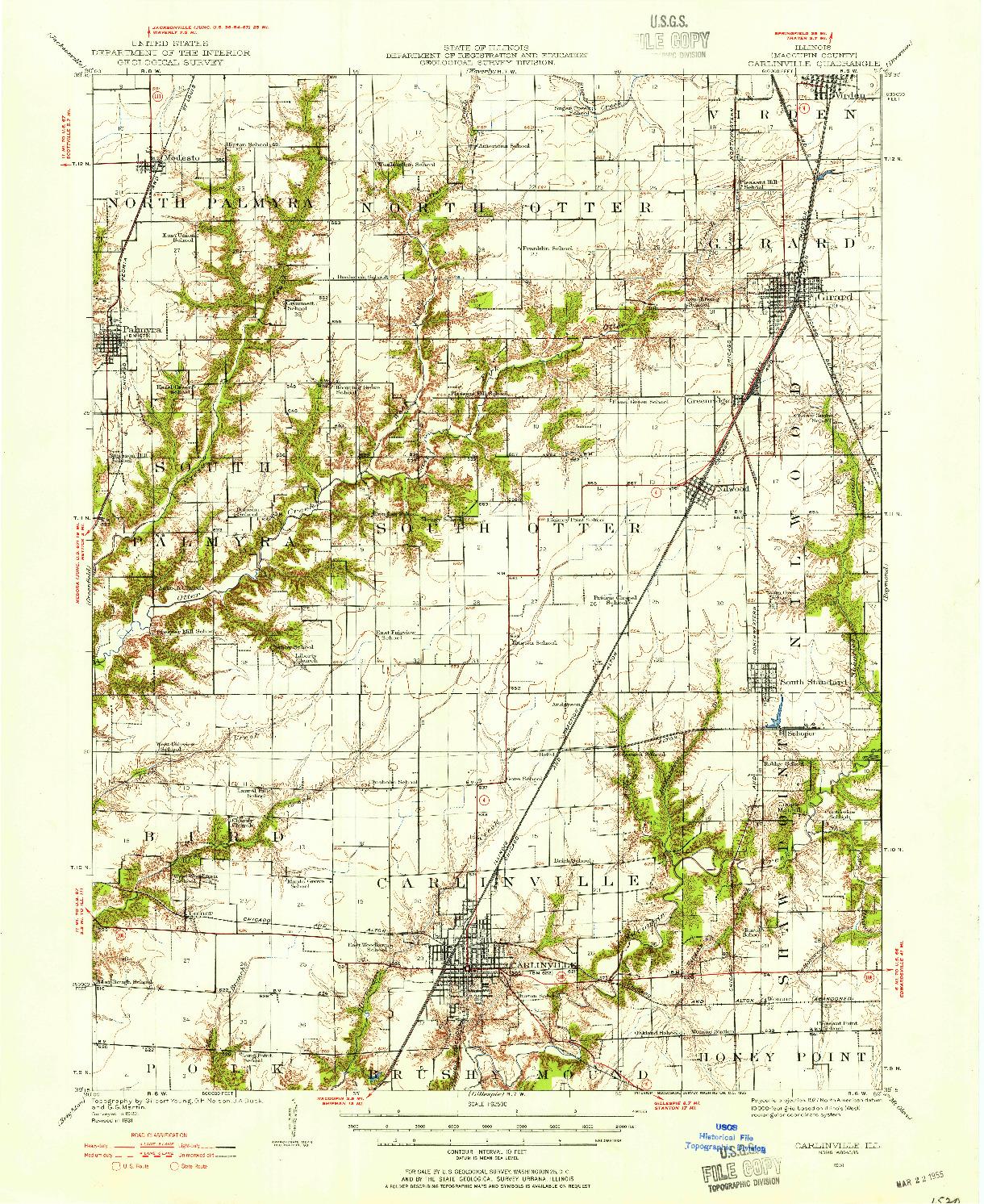 USGS 1:62500-SCALE QUADRANGLE FOR CARLINVILLE, IL 1931