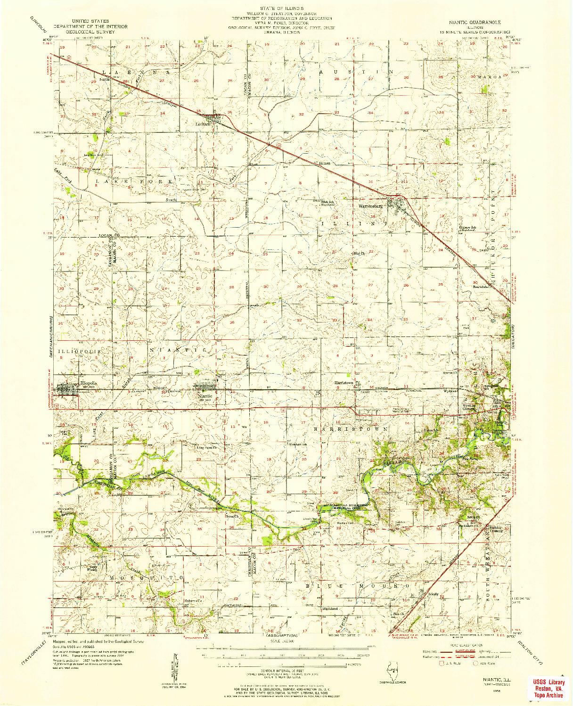 USGS 1:62500-SCALE QUADRANGLE FOR NIANTIC, IL 1954