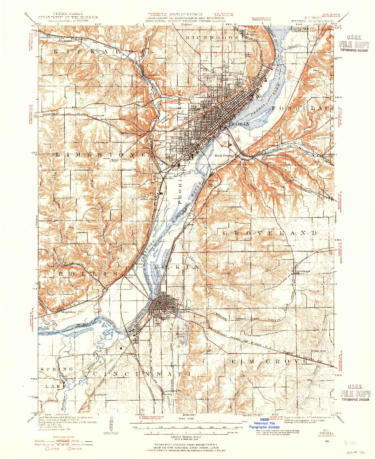 USGS 1:62500-SCALE QUADRANGLE FOR PEORIA, IL 1927