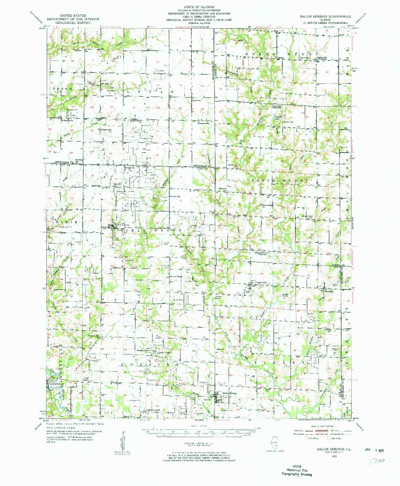 USGS 1:62500-SCALE QUADRANGLE FOR SAILOR SPRINGS, IL 1953