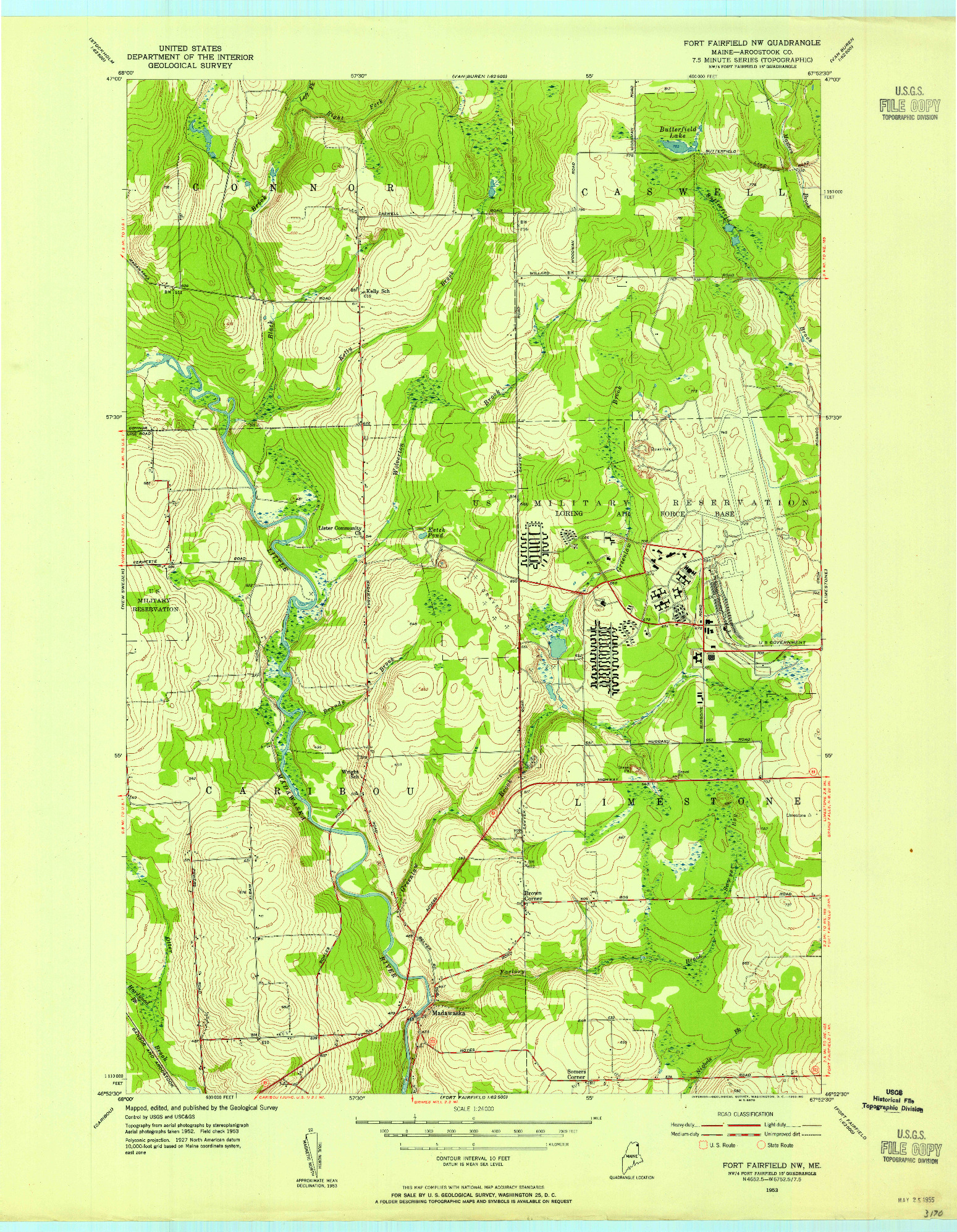 USGS 1:24000-SCALE QUADRANGLE FOR FORT FAIRFIELD NW, ME 1953