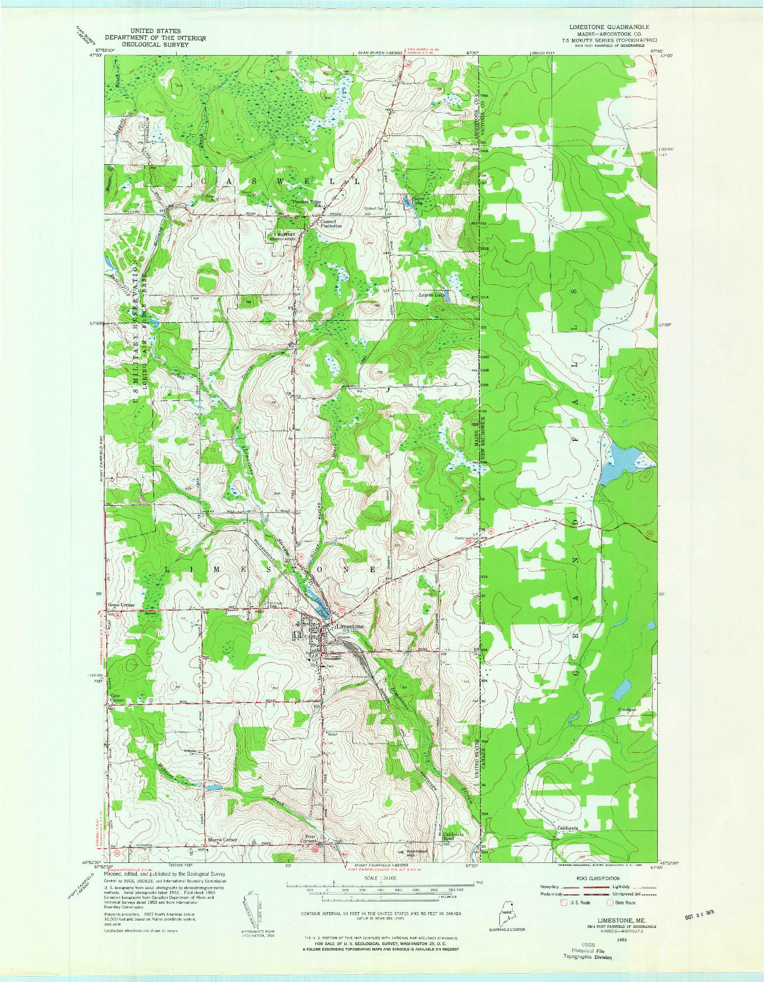 USGS 1:24000-SCALE QUADRANGLE FOR LIMESTONE, ME 1953