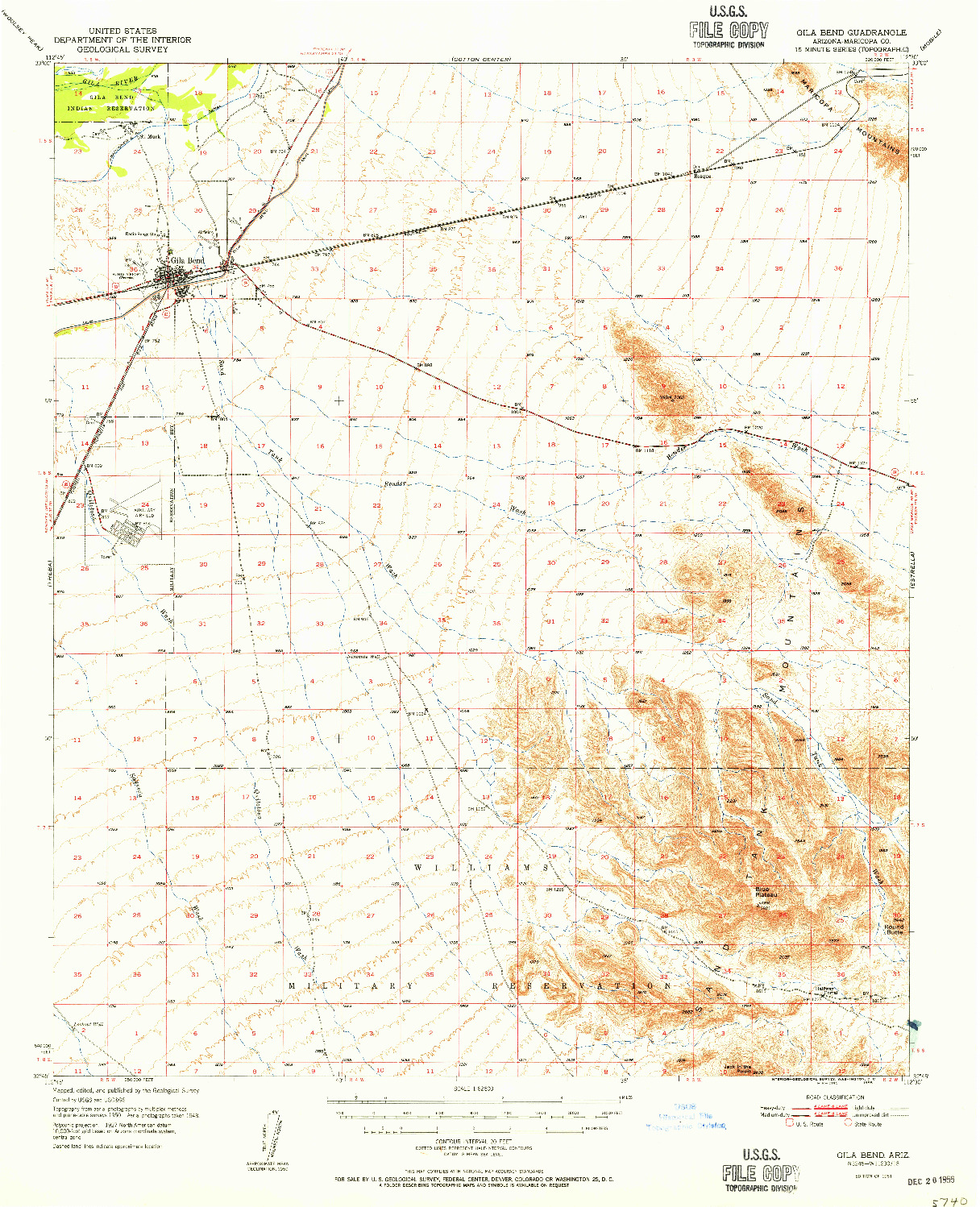USGS 1:62500-SCALE QUADRANGLE FOR GILA BEND, AZ 1951