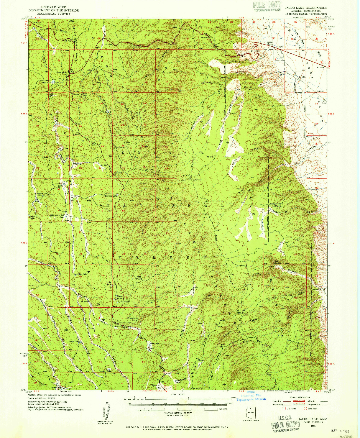 USGS 1:62500-SCALE QUADRANGLE FOR JACOBS LAKE, AZ 1953