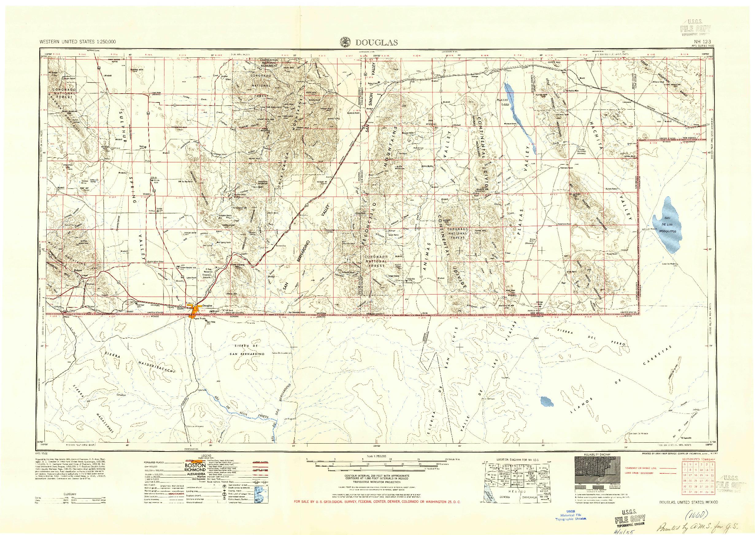USGS 1:250000-SCALE QUADRANGLE FOR DOUGLAS, AZ 1955