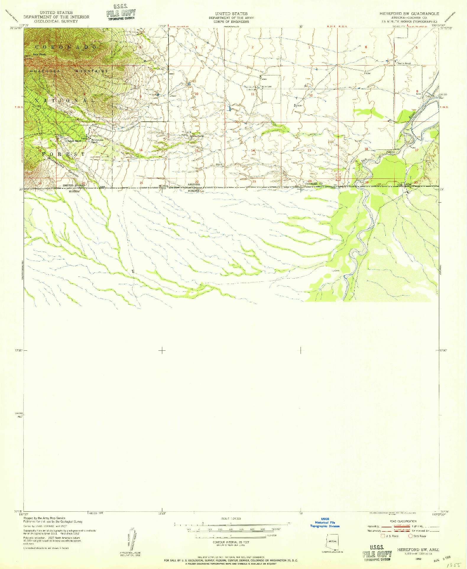 USGS 1:24000-SCALE QUADRANGLE FOR HEREFORD SW, AZ 1952