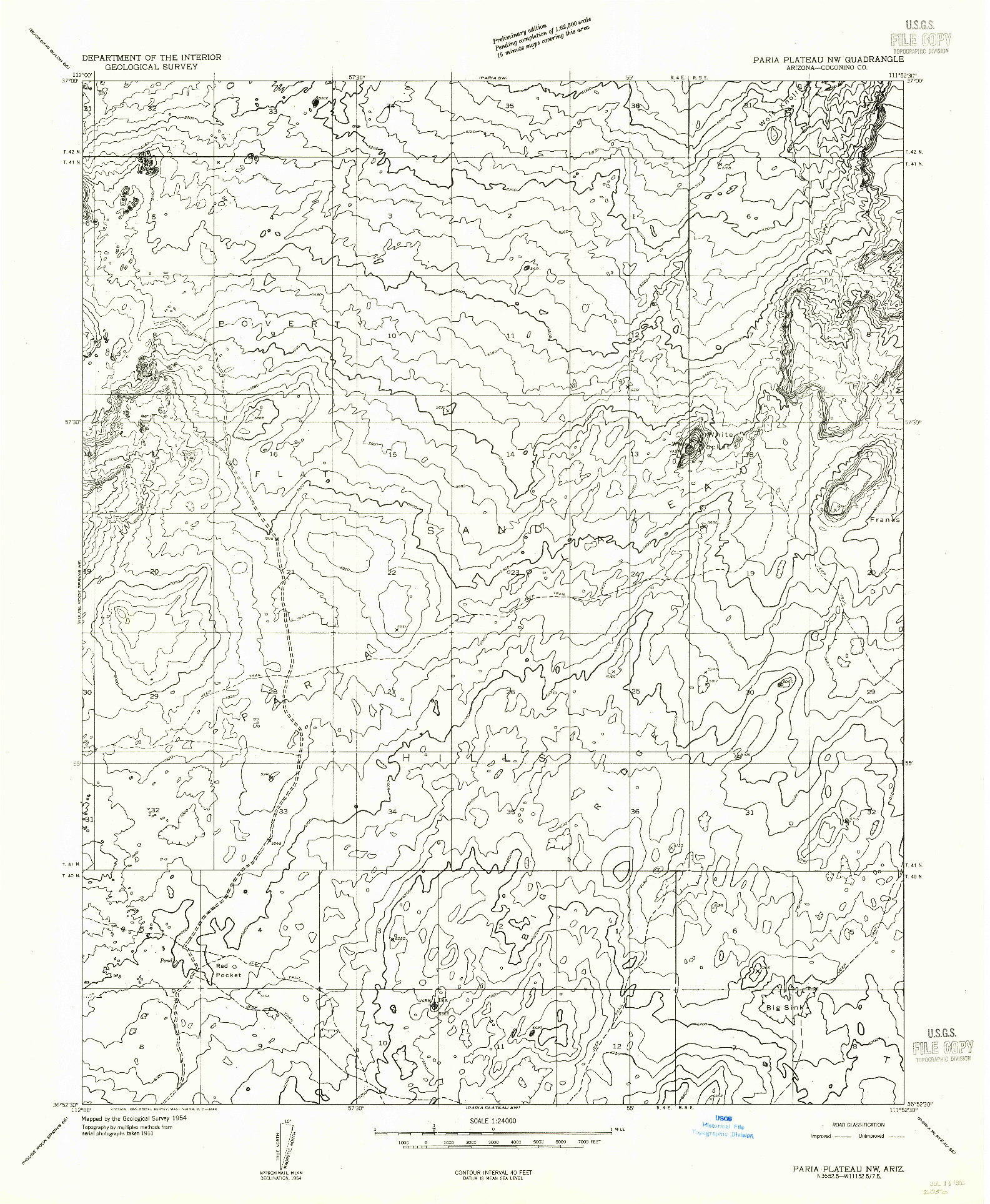 USGS 1:24000-SCALE QUADRANGLE FOR PARIA PLATEAU NW, AZ 1954