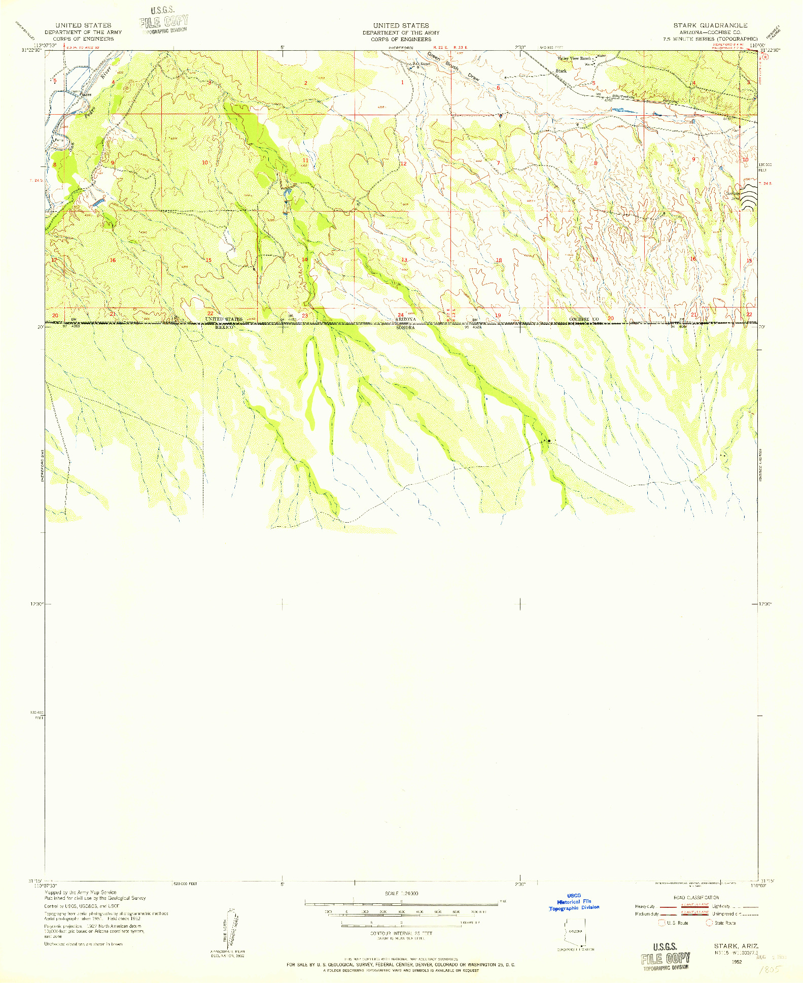 USGS 1:24000-SCALE QUADRANGLE FOR STARK, AZ 1952
