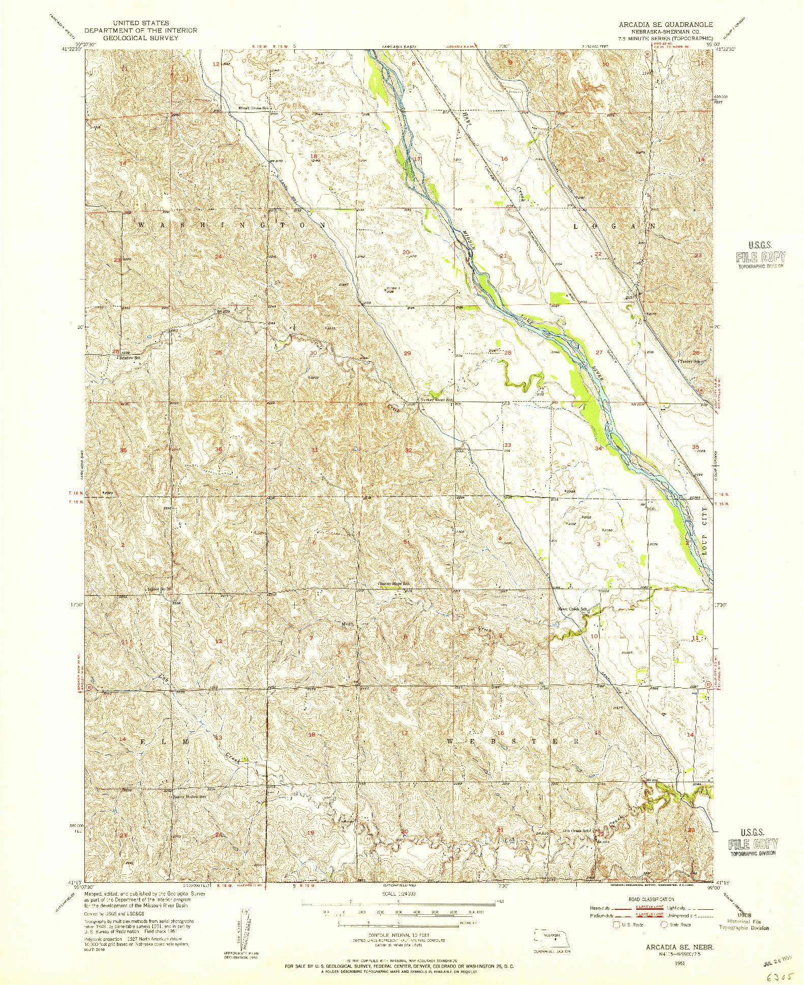 USGS 1:24000-SCALE QUADRANGLE FOR ARCADIA SE, NE 1951