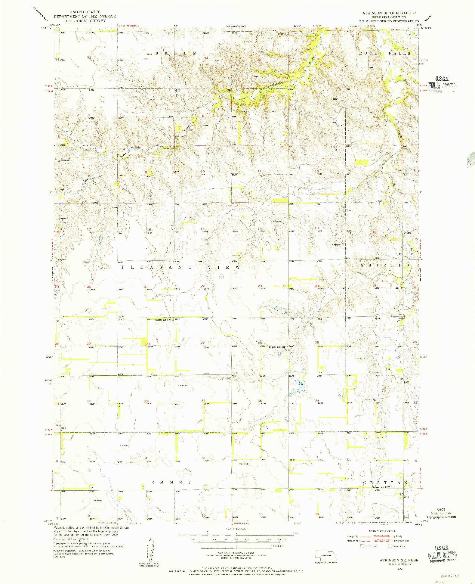 USGS 1:24000-SCALE QUADRANGLE FOR ATKINSON SE, NE 1954
