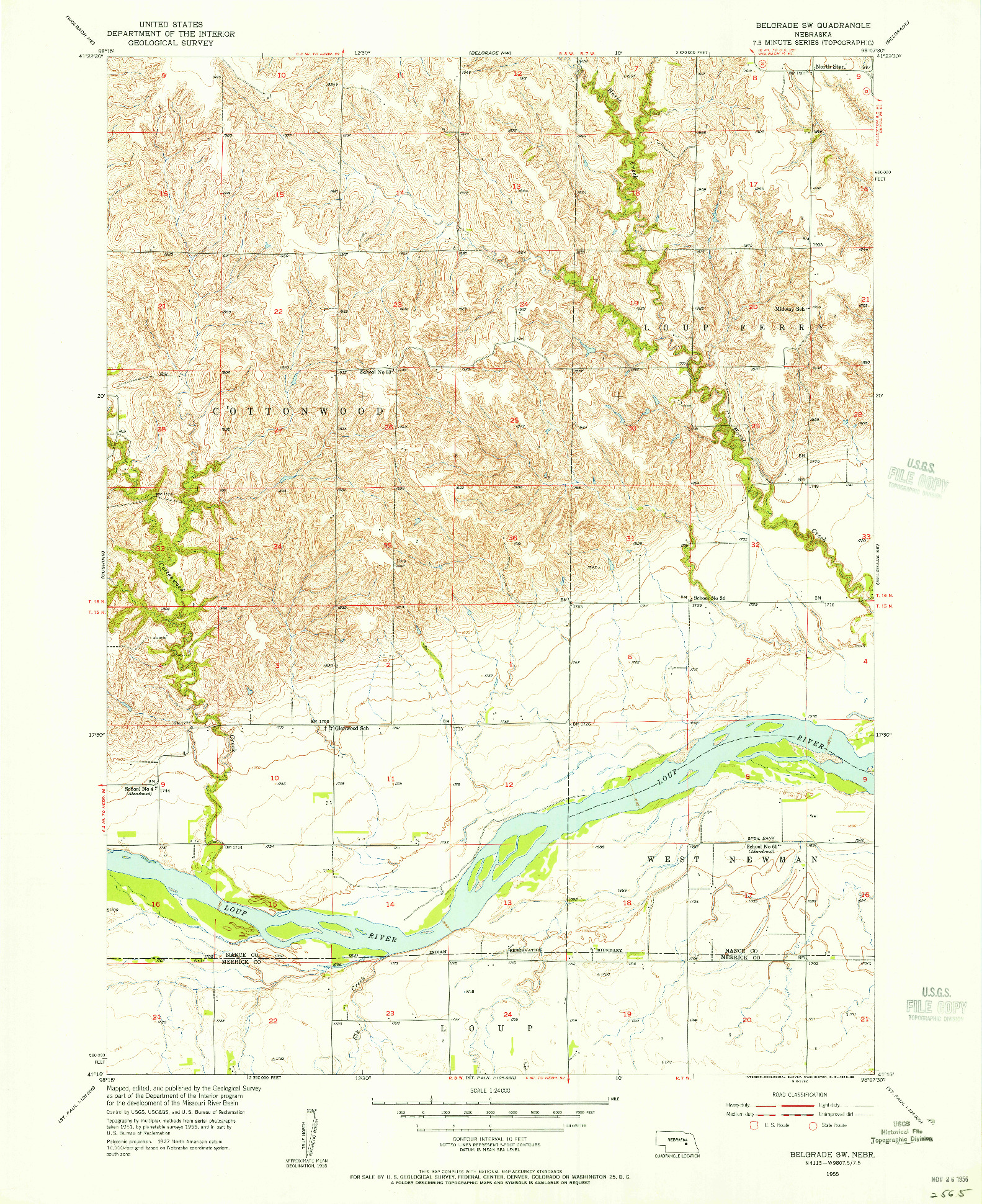 USGS 1:24000-SCALE QUADRANGLE FOR BELGRADE SW, NE 1955