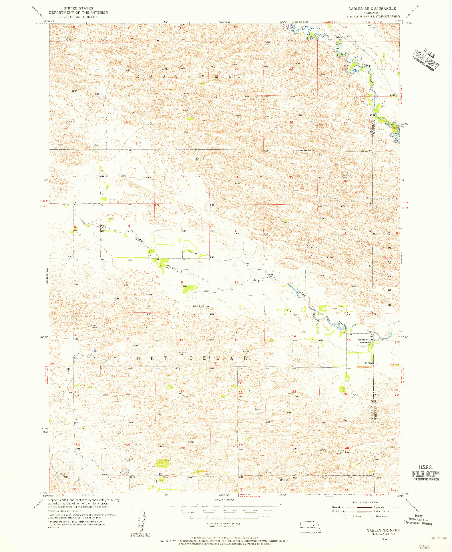 USGS 1:24000-SCALE QUADRANGLE FOR GABLES SE, NE 1954