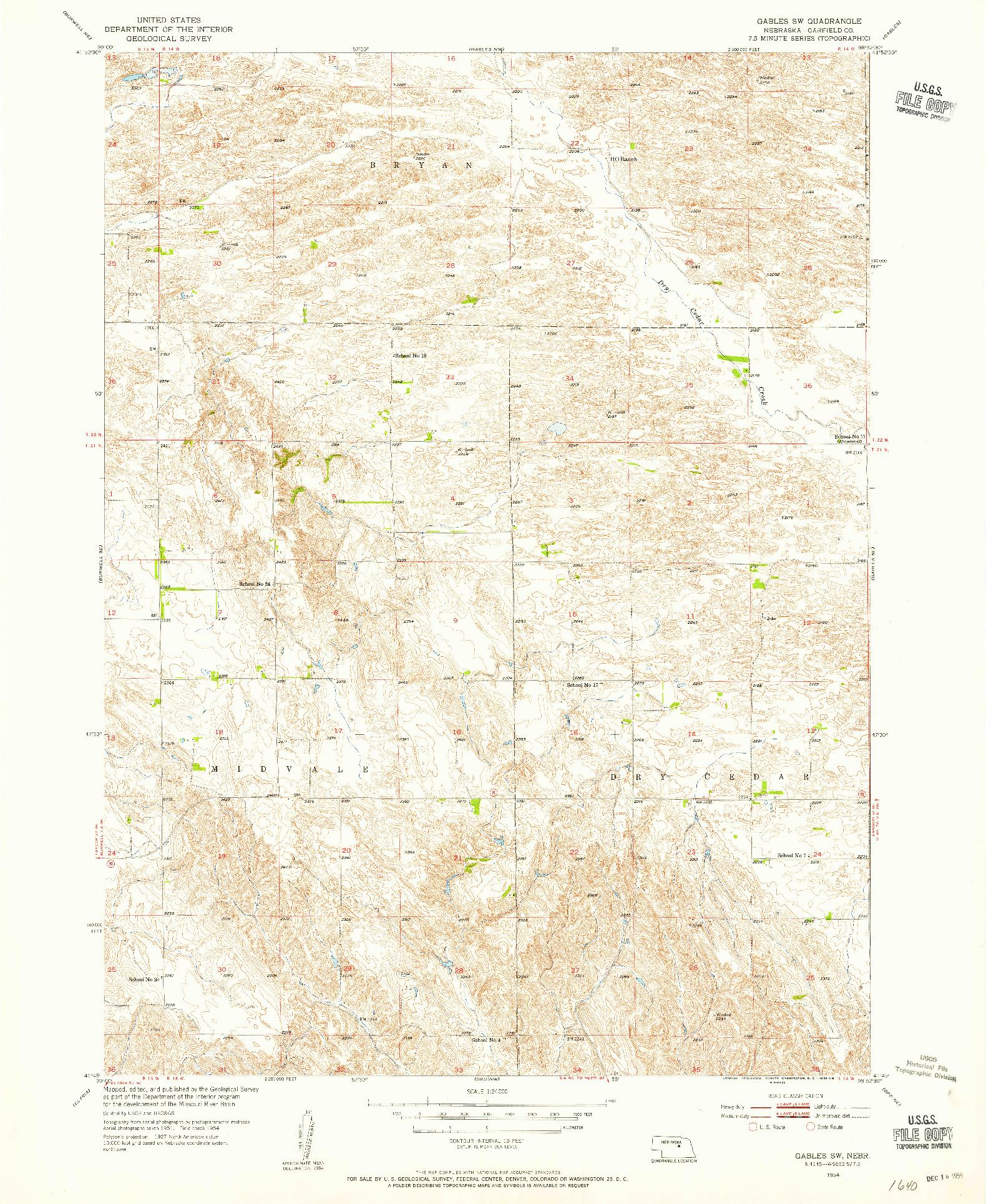 USGS 1:24000-SCALE QUADRANGLE FOR GABLES SW, NE 1954