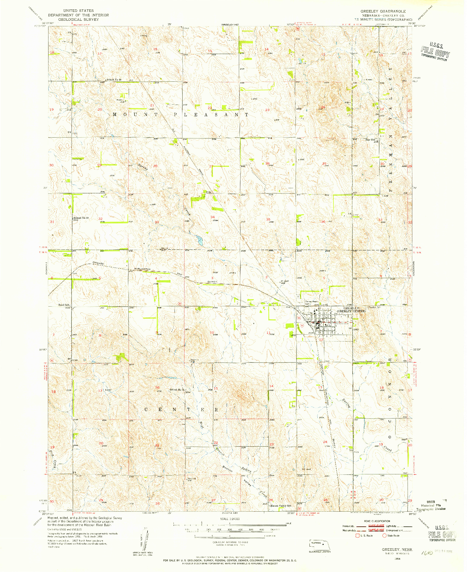 USGS 1:24000-SCALE QUADRANGLE FOR GREELEY, NE 1954