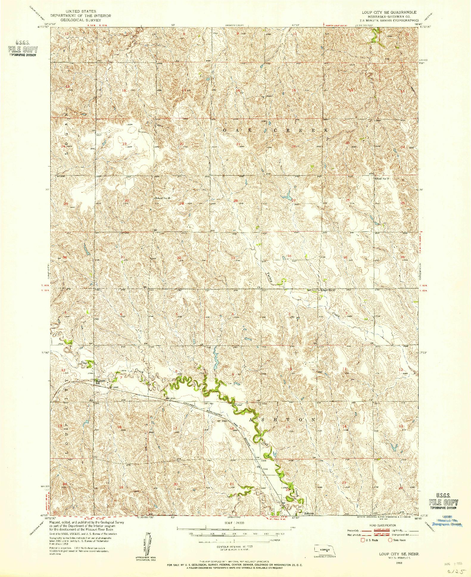 USGS 1:24000-SCALE QUADRANGLE FOR LOUP CITY SE, NE 1953