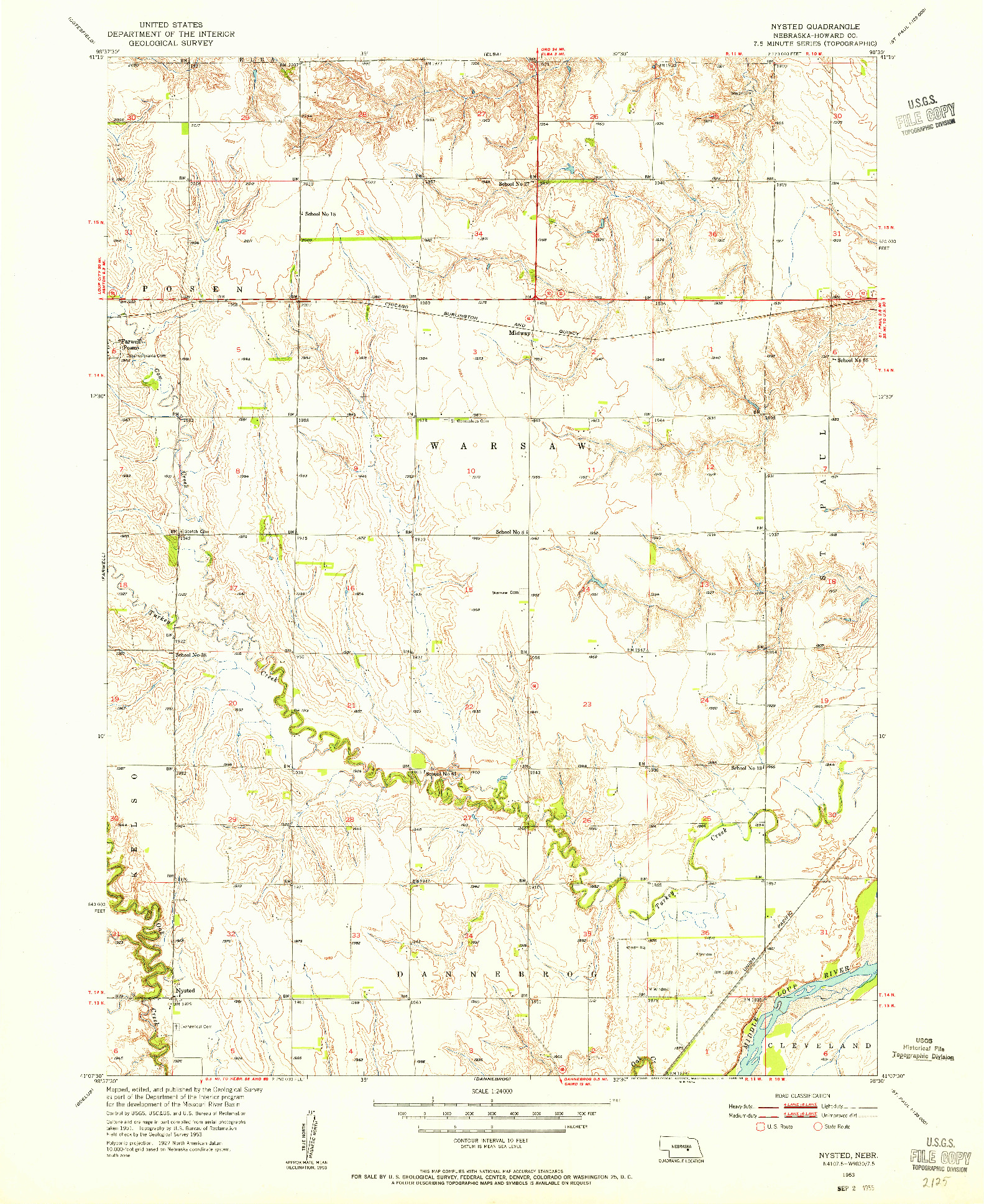 USGS 1:24000-SCALE QUADRANGLE FOR NYSTED, NE 1953
