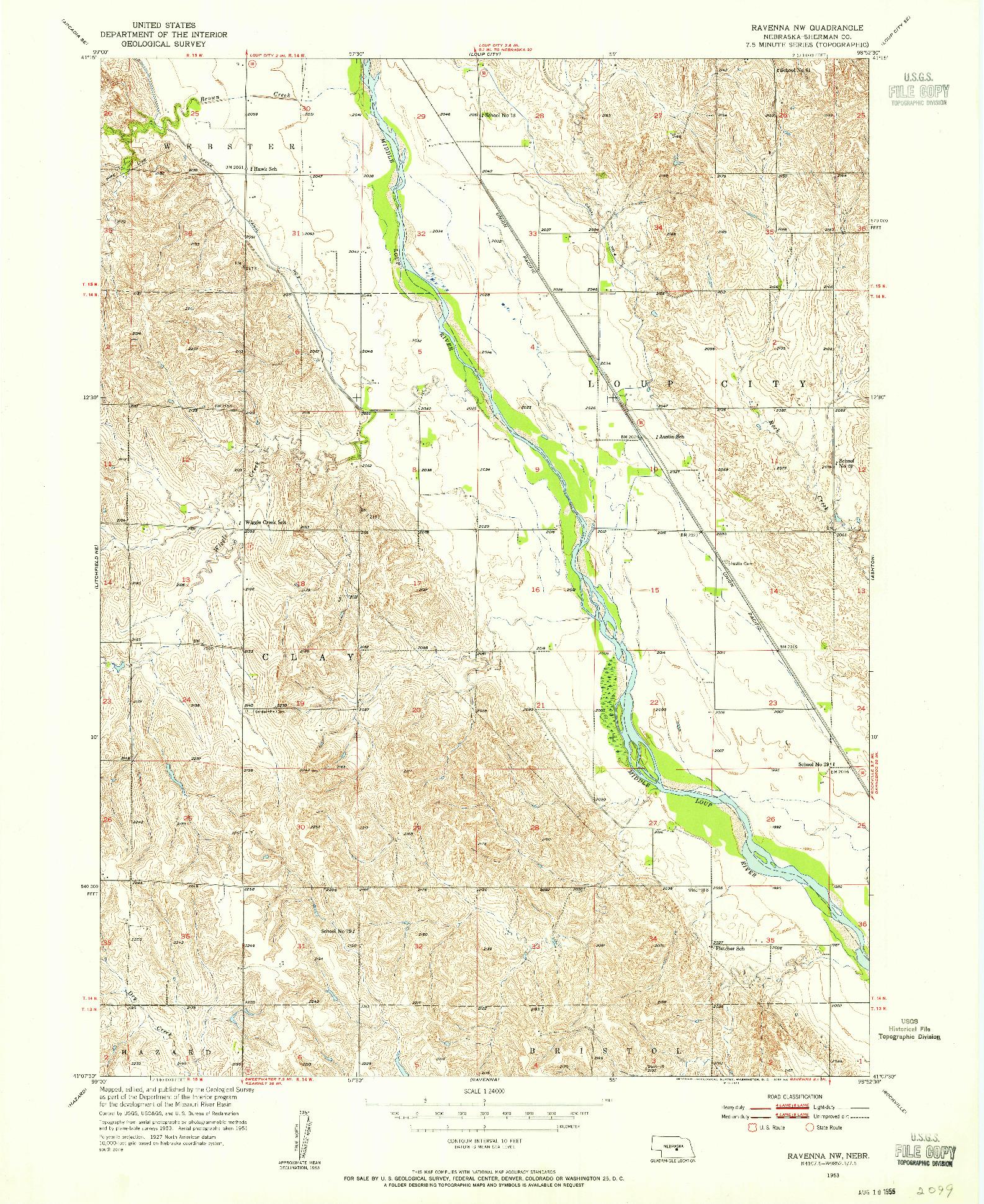 USGS 1:24000-SCALE QUADRANGLE FOR RAVENNA NW, NE 1953